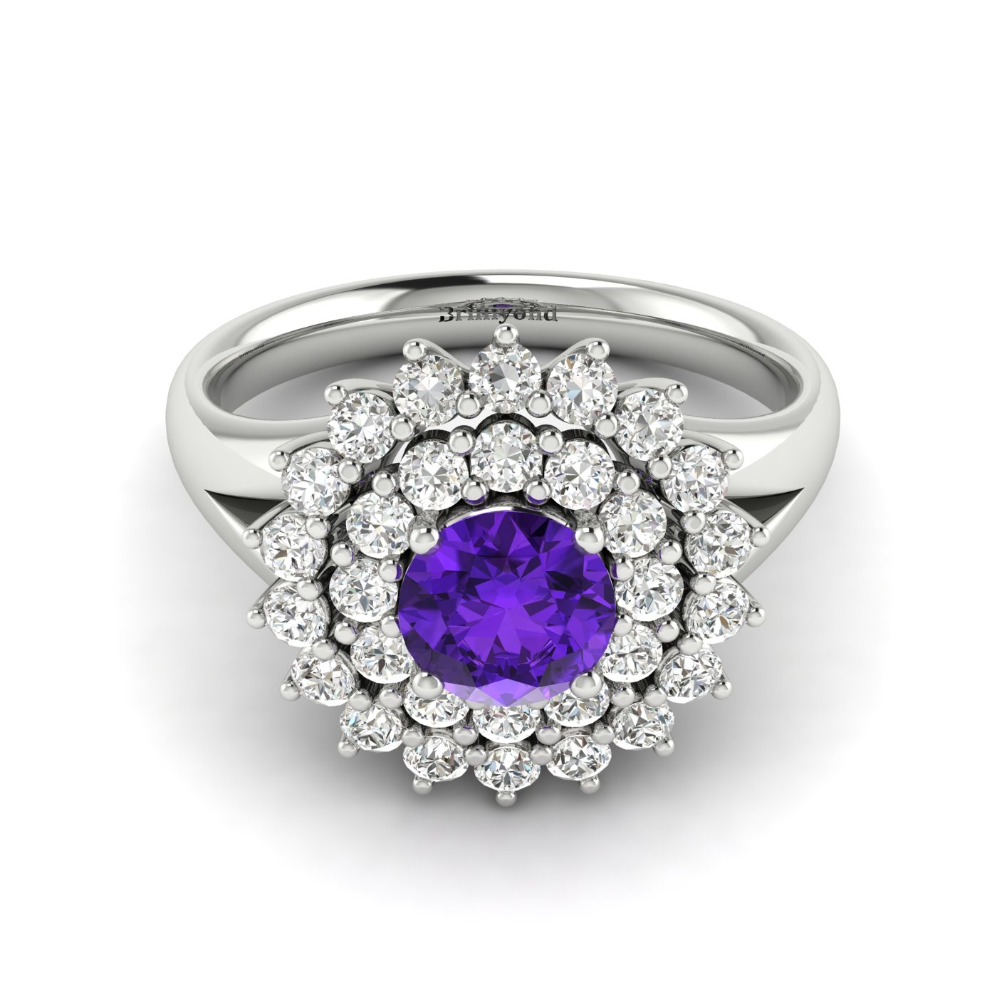 Amethyst White Gold Cluster Engagement Ring Aquila_image2