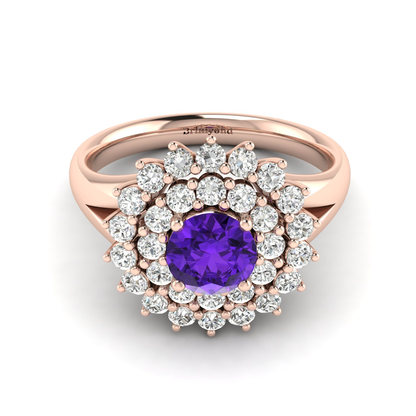 Amethyst Rose Gold Cluster Engagement Ring Aquila_image1