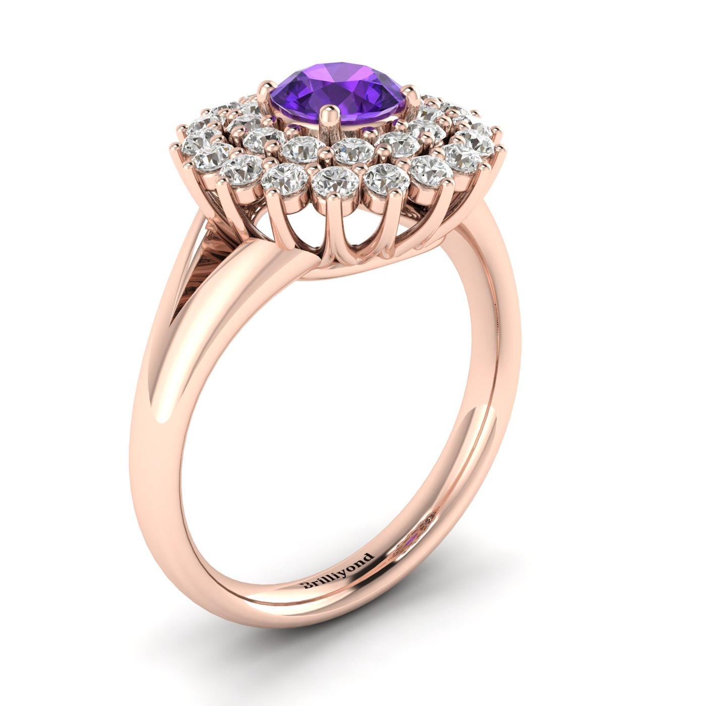 Amethyst Rose Gold Cluster Engagement Ring Aquila_image2