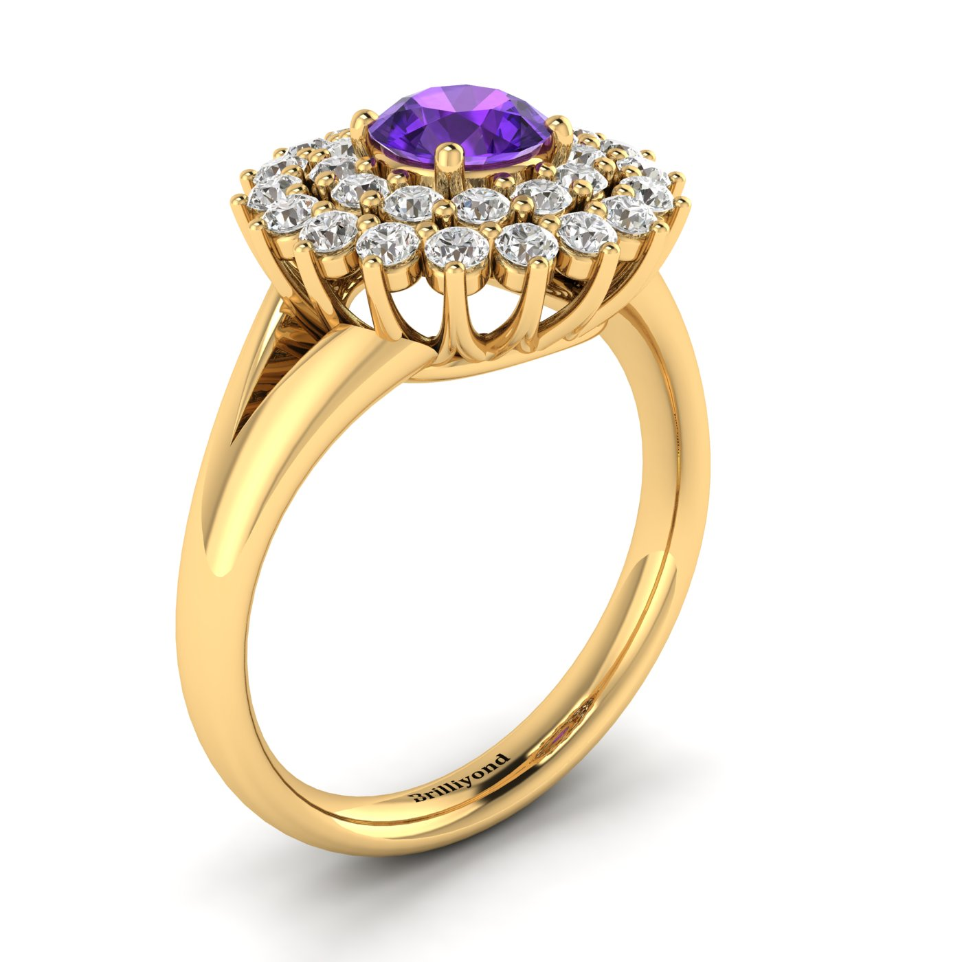 Amethyst Yellow Gold Cluster Engagement Ring Aquila_image1
