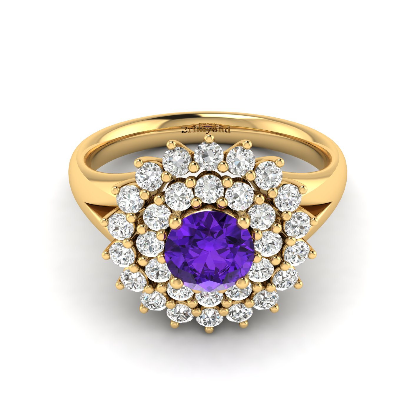 Amethyst Yellow Gold Cluster Engagement Ring Aquila_image2