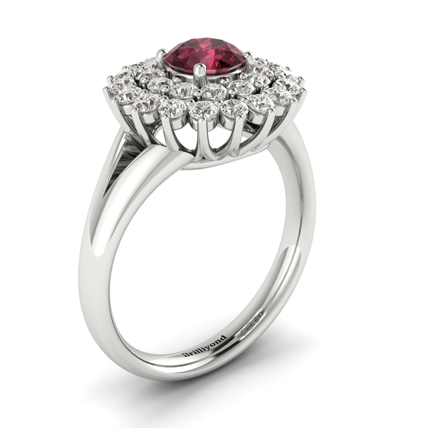 Garnet White Gold Cluster Engagement Ring Aquila_image2