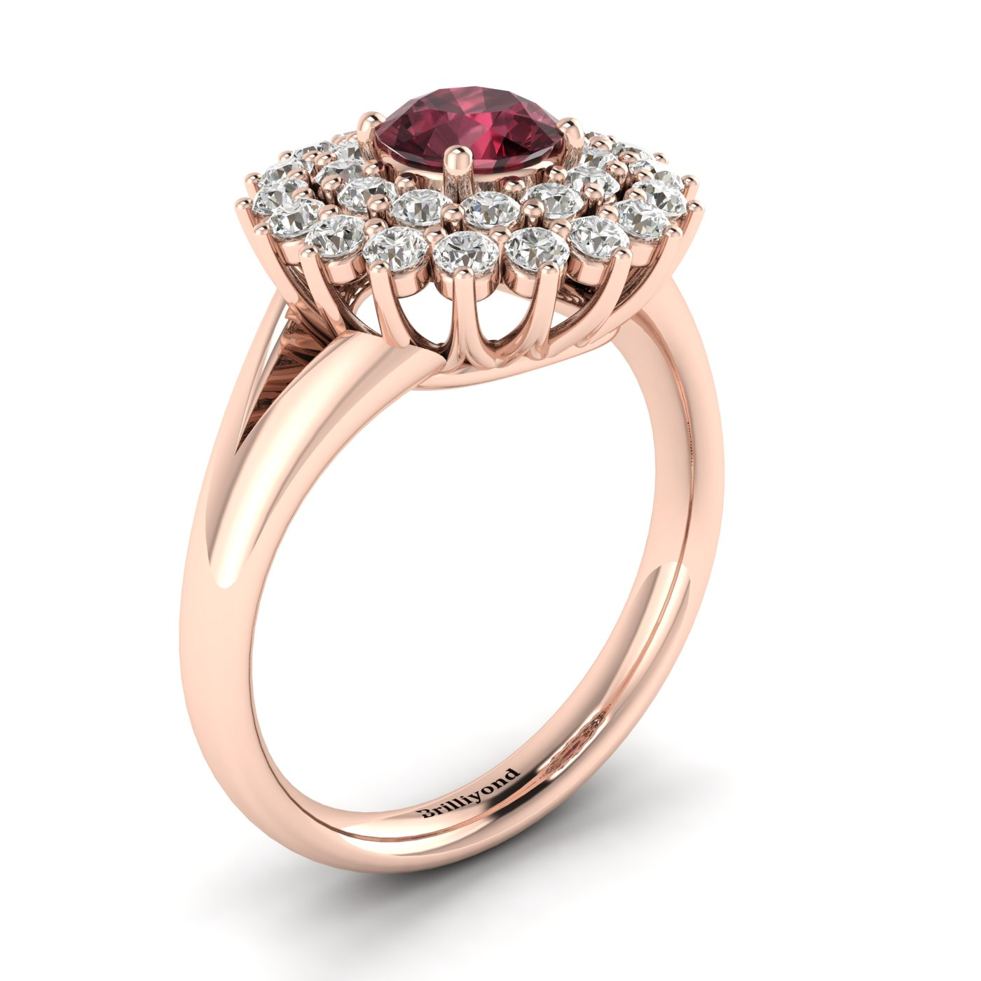 an engagement rings diamonds costagli paolo with garnet model ring rhodolite pink products gold