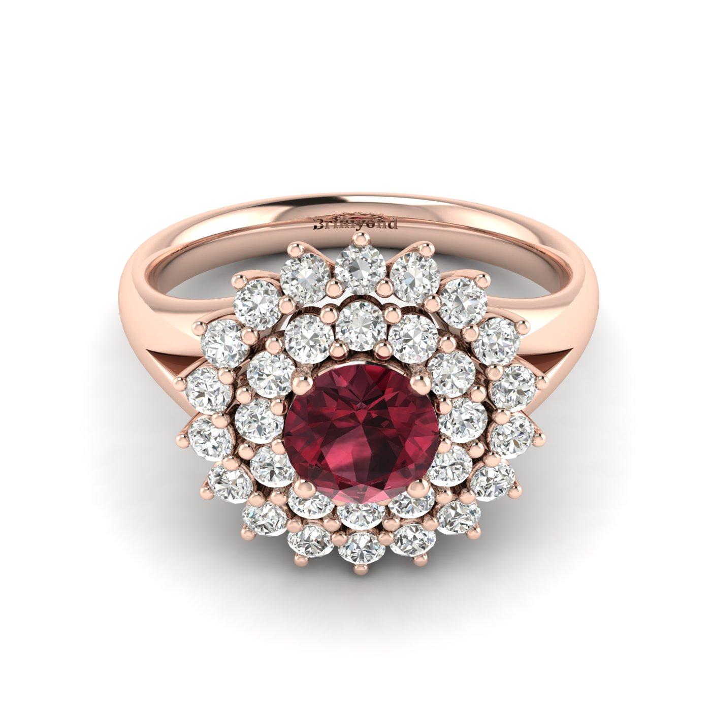 Garnet Ring Rose Gold Cluster Aquila