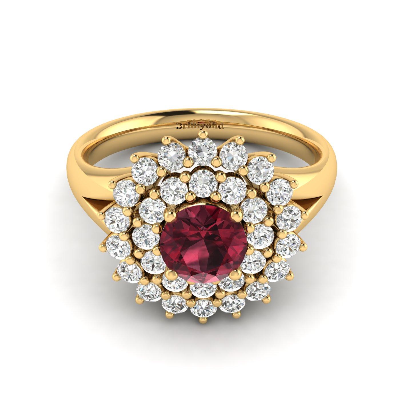 Garnet Yellow Gold Cluster Engagement Ring Aquila_image1