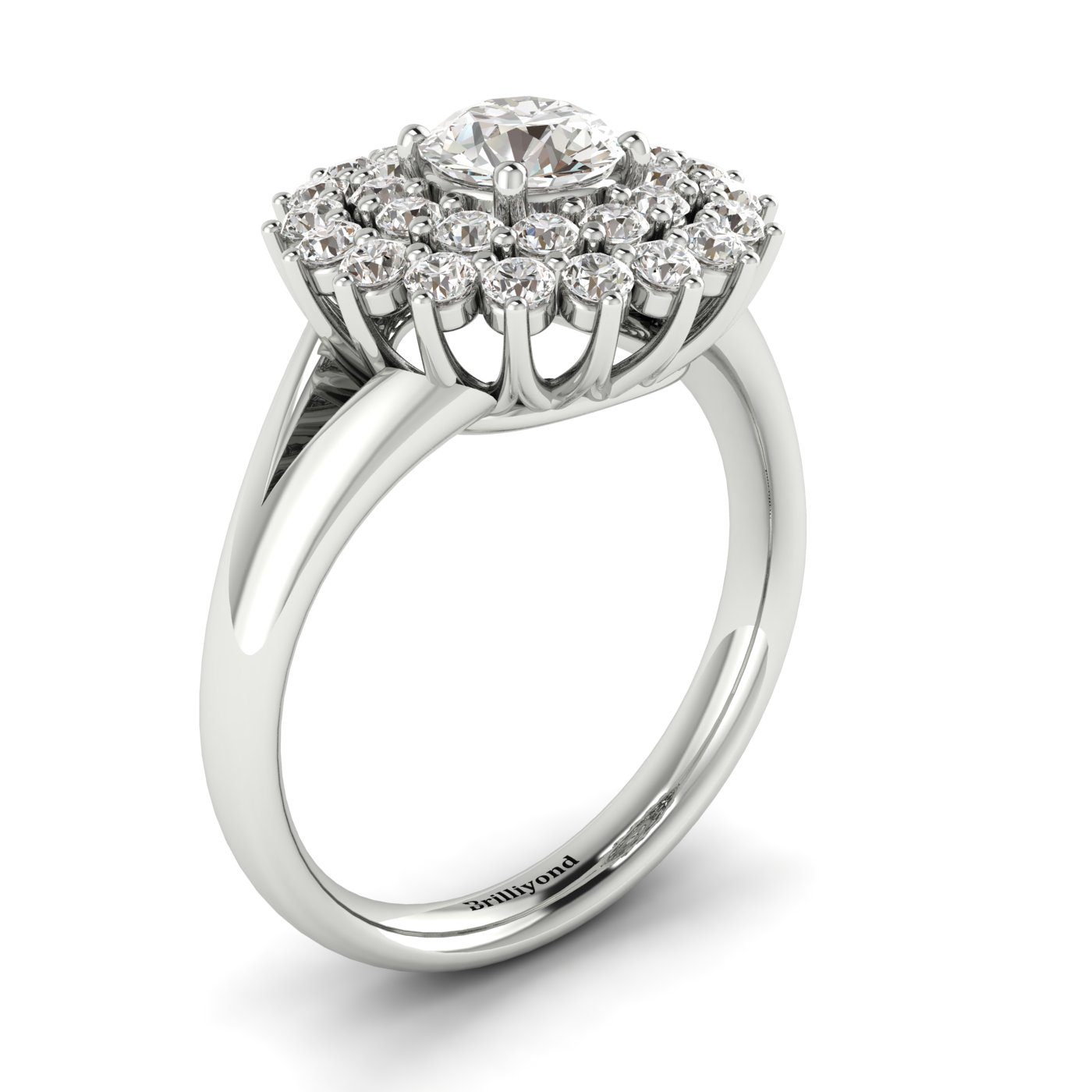 White Sapphire White Gold Cluster Engagement Ring Aquila_image1