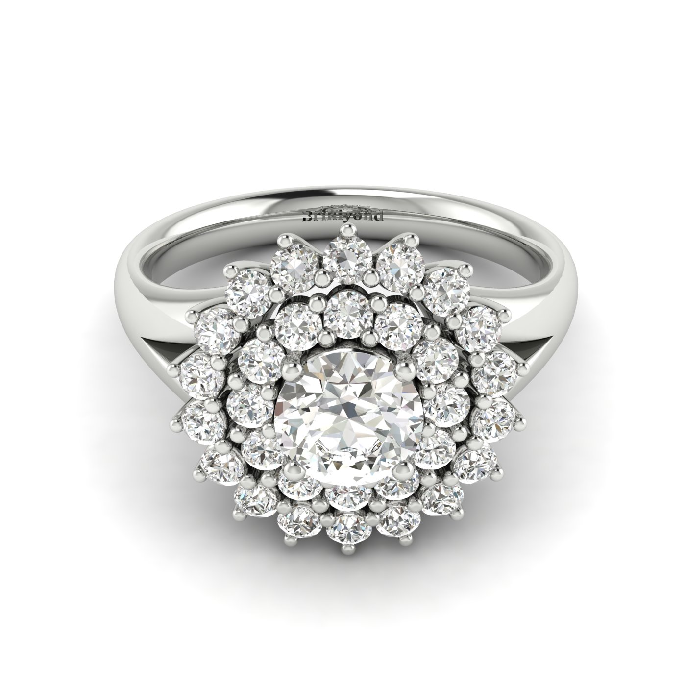 White Sapphire White Gold Cluster Engagement Ring Aquila_image2