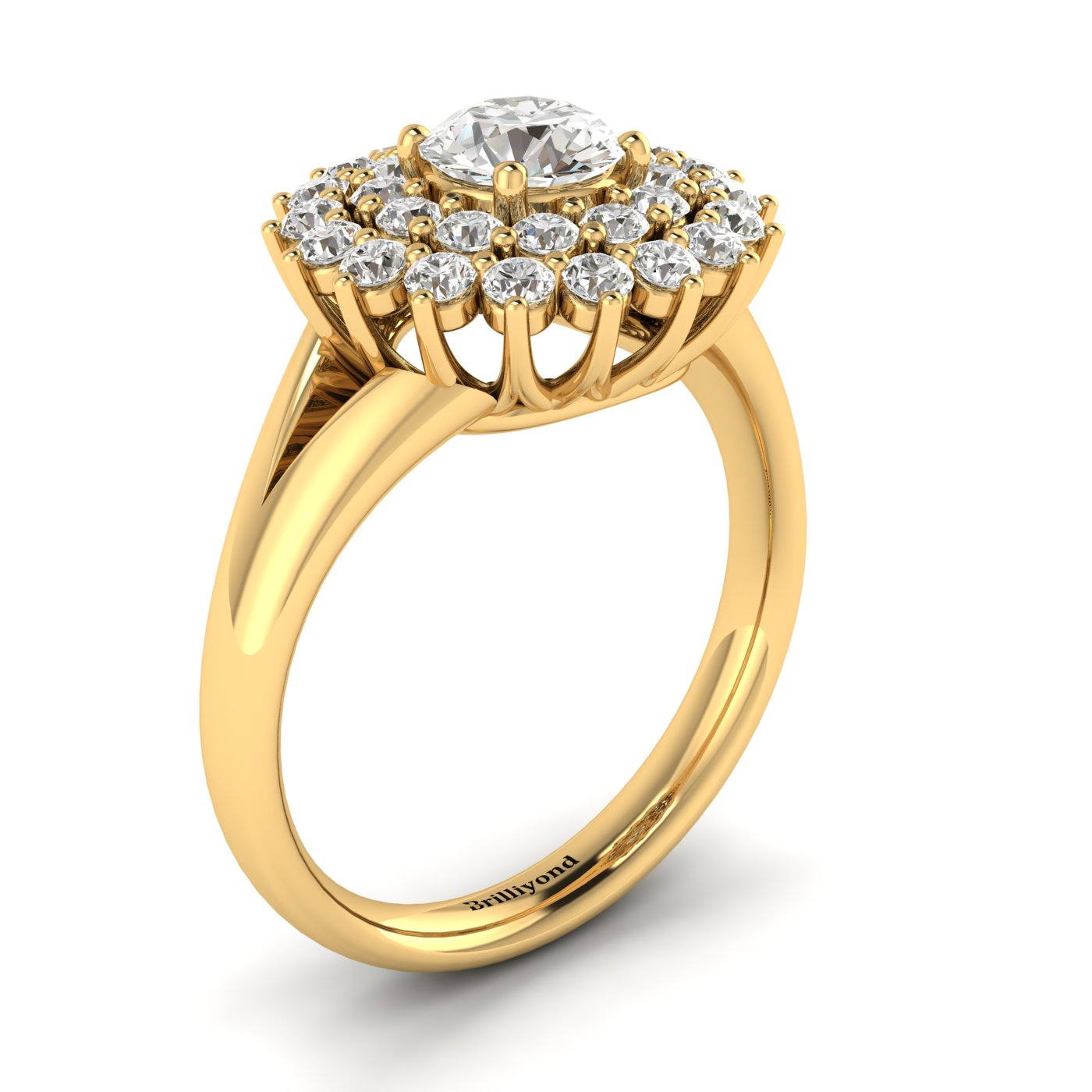 White Sapphire Yellow Gold Cluster Engagement Ring Aquila_image1