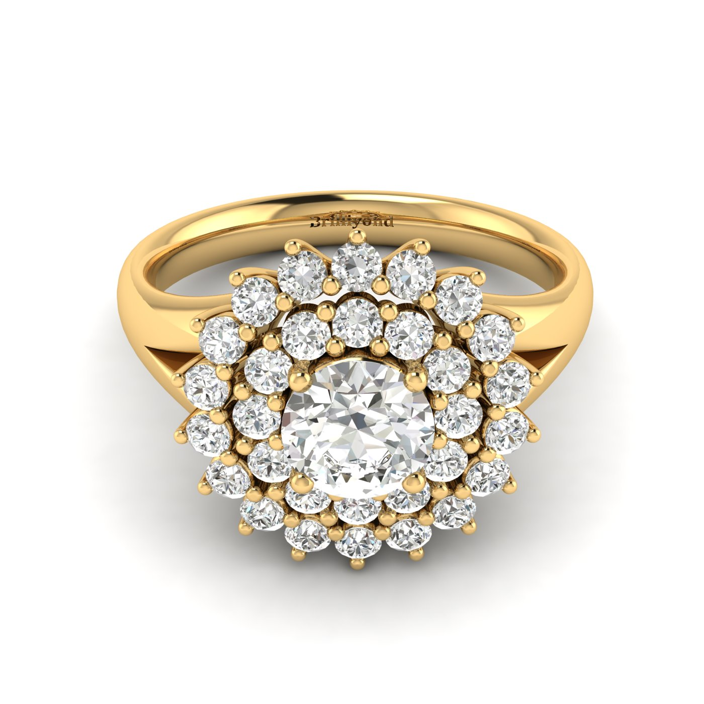 White Sapphire Yellow Gold Cluster Engagement Ring Aquila_image2