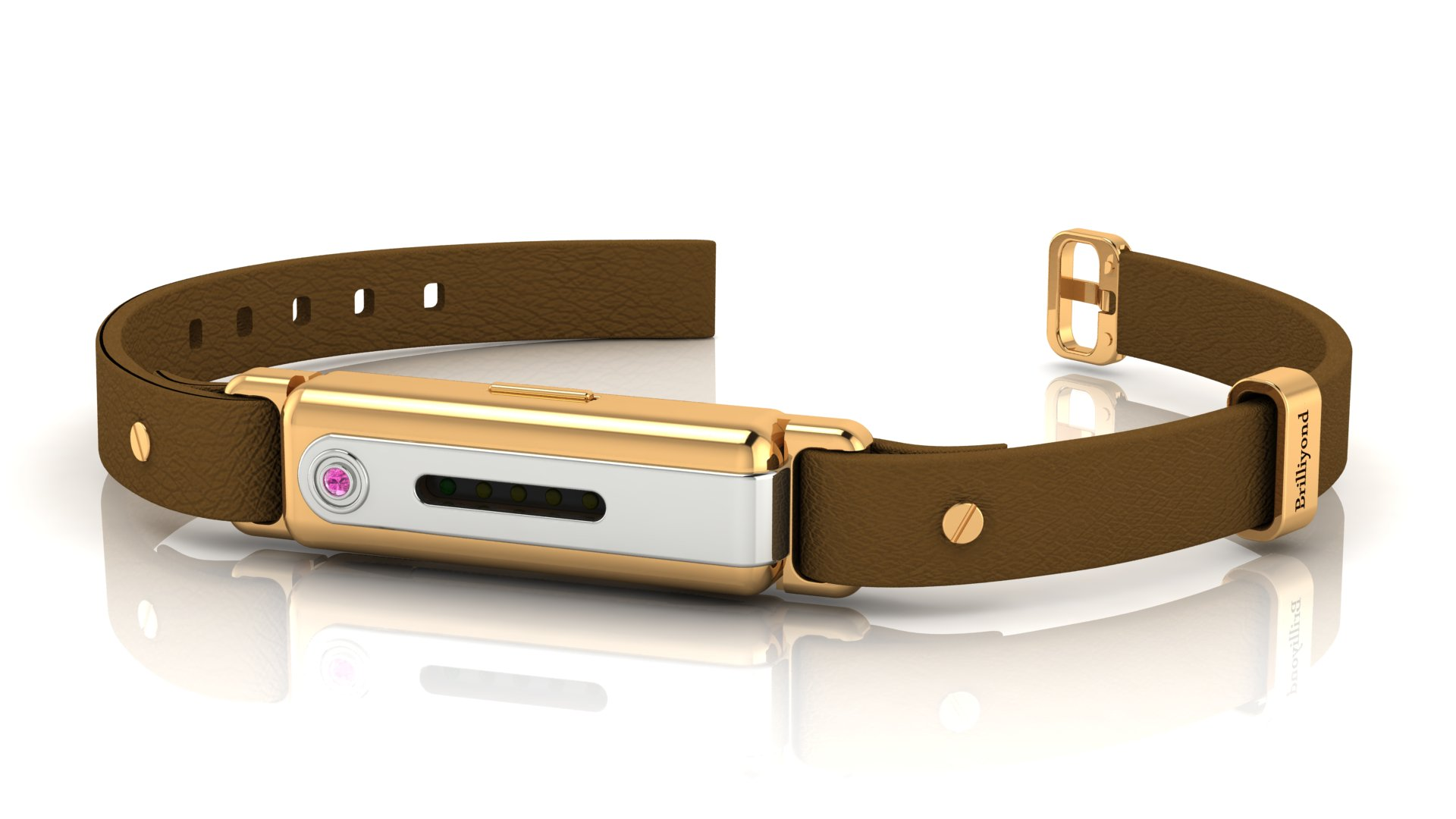 Brilliyond Smart Fitbit Bangle Pink Sapphire Yellow and White Gold Coffee Belt_image1
