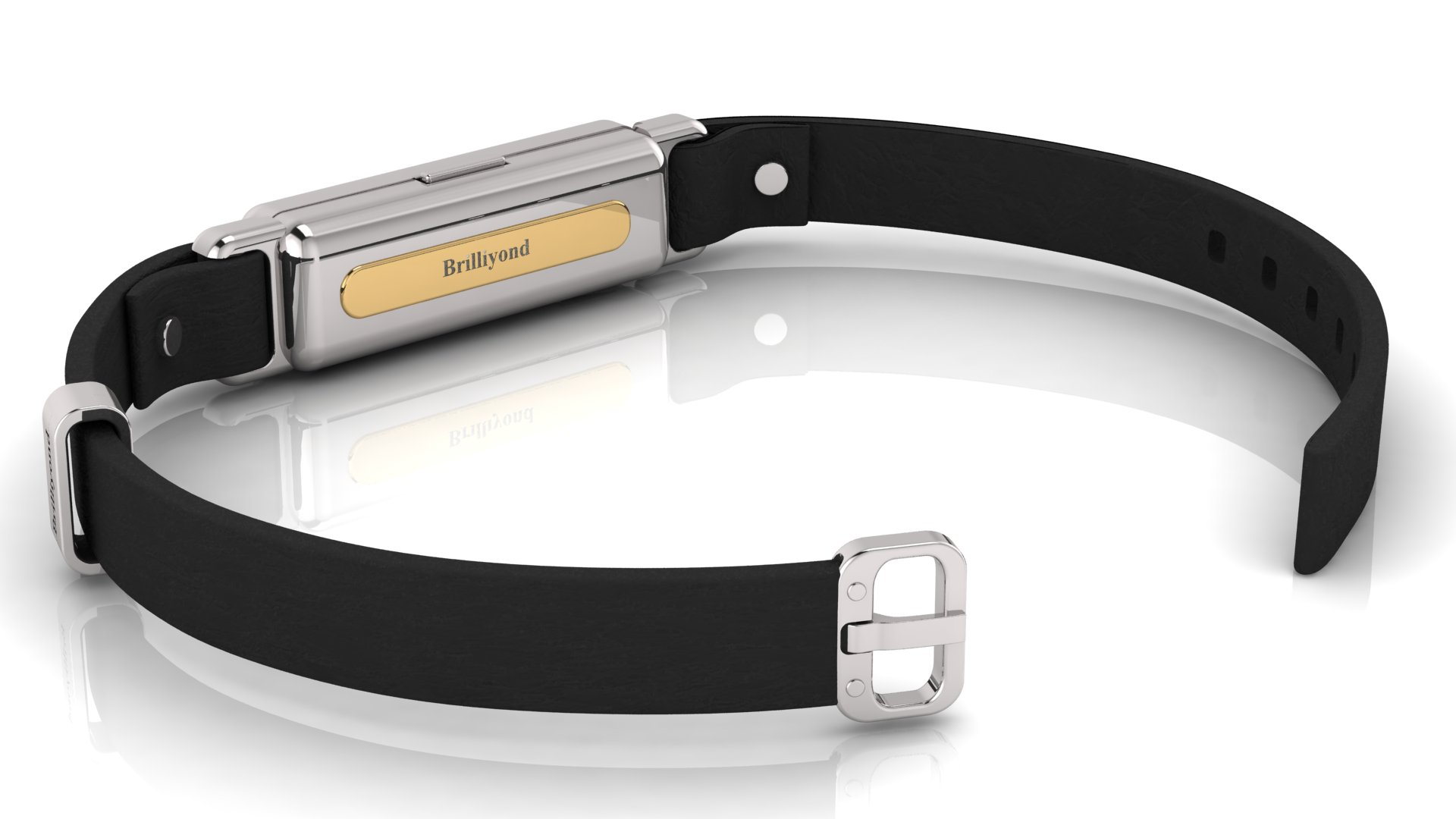 Brilliyond Smart Fitbit Bangle White Sapphire White and Yellow Gold Jaguar