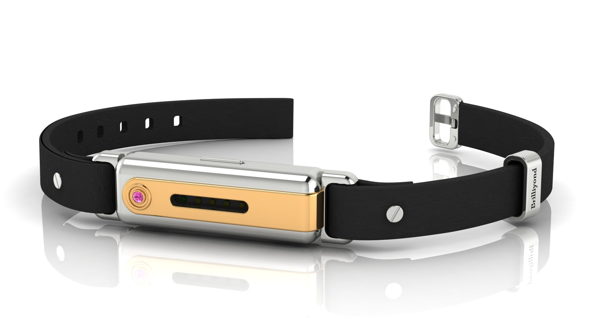 Brilliyond Smart Fitbit Bangle Pink Sapphire White and Yellow Gold Jaguar_image1