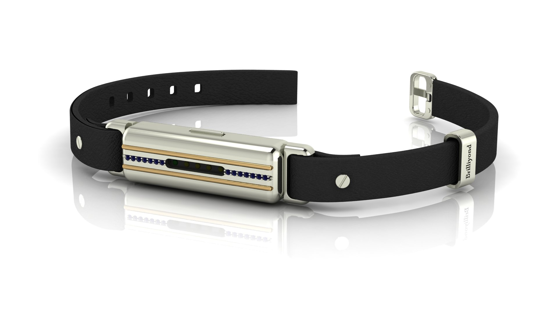 Brilliyond Smart Fitbit Bangle Blue Sapphire White and Yellow Gold Cheetah_image1