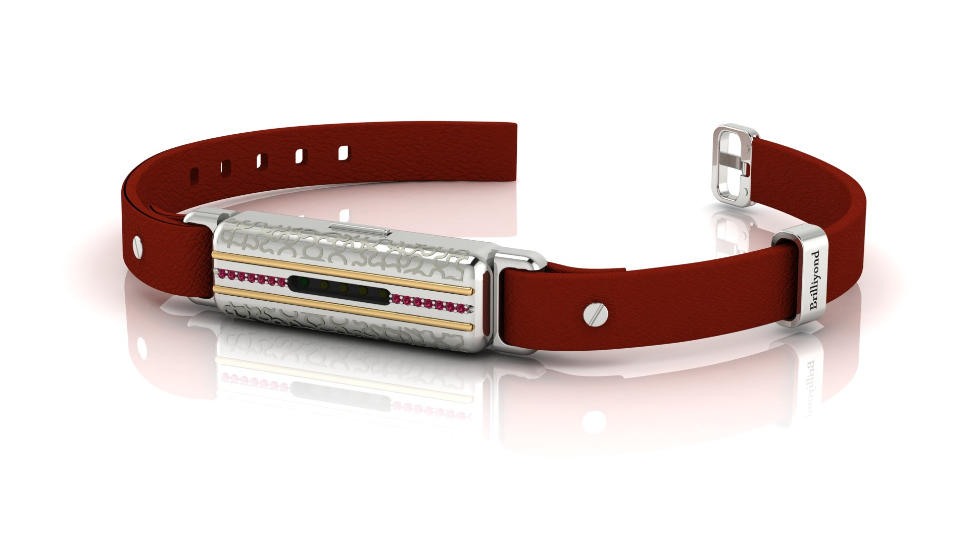 Brilliyond Smart Fitbit Bangle Pink Sapphire White Gold Leopard Cherry Belt_image1