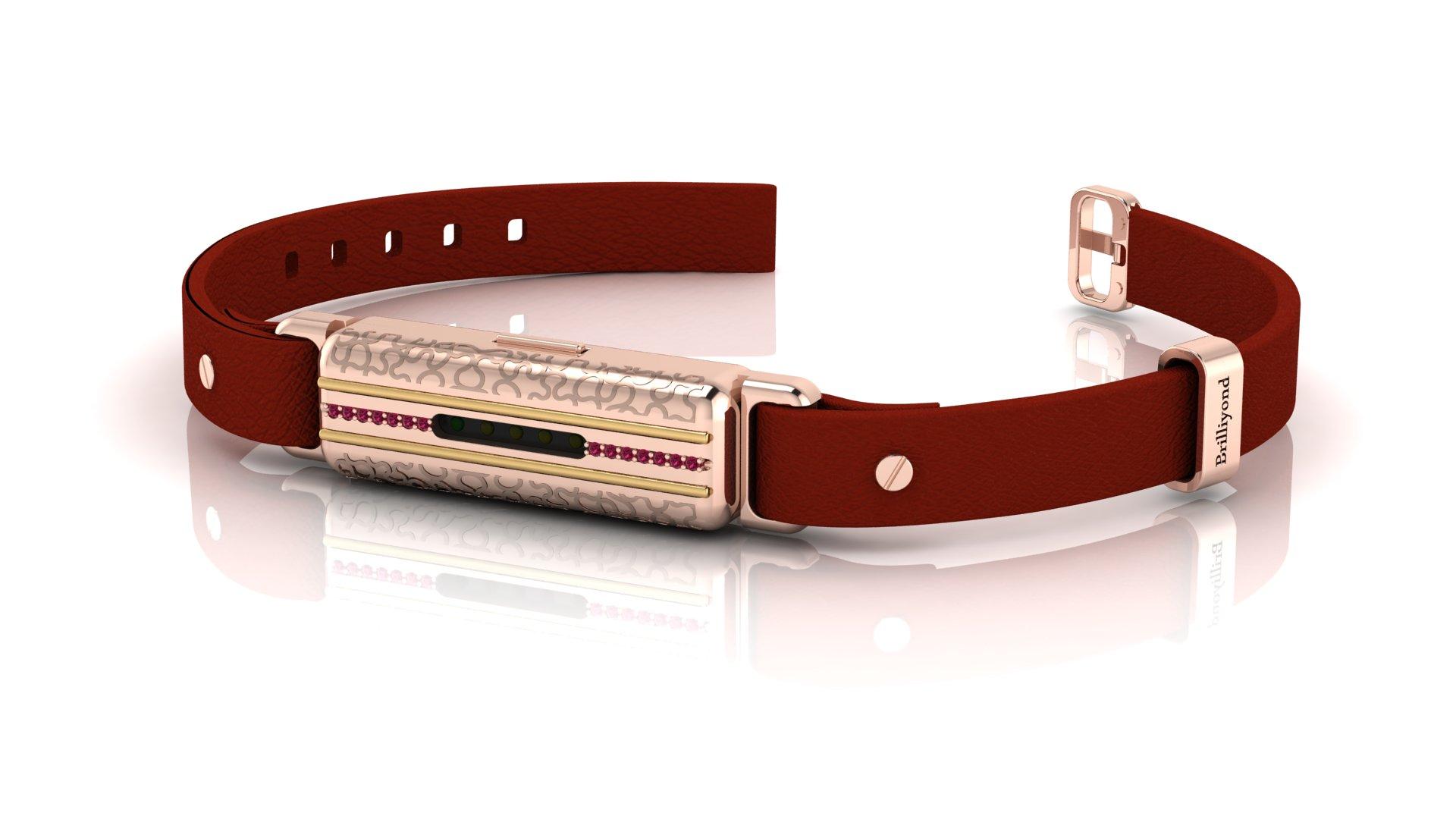 Brilliyond Smart Fitbit Bangle Pink Sapphire Rose Gold Leopard Cherry Belt_image1