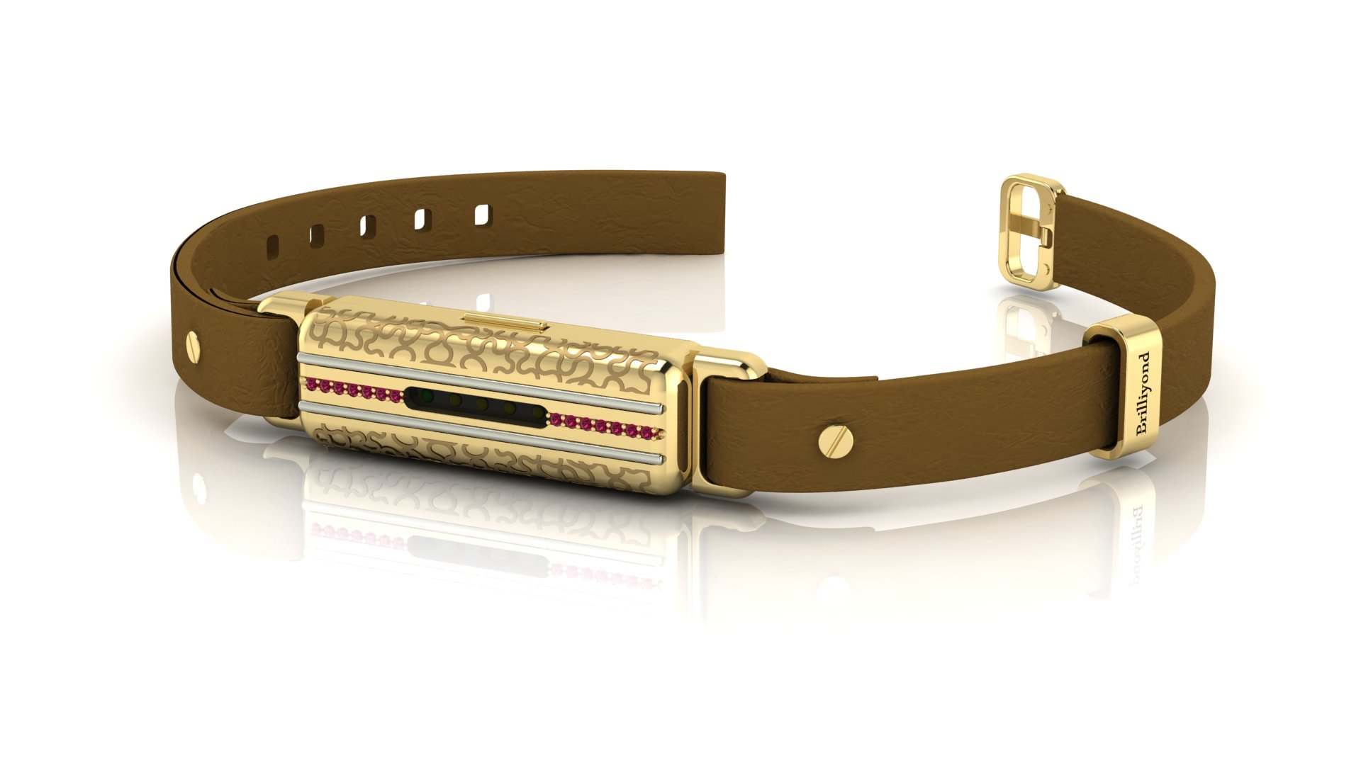 Brilliyond Smart Fitbit Bangle Pink Sapphire Yellow Gold Leopard Coffee Belt_image1