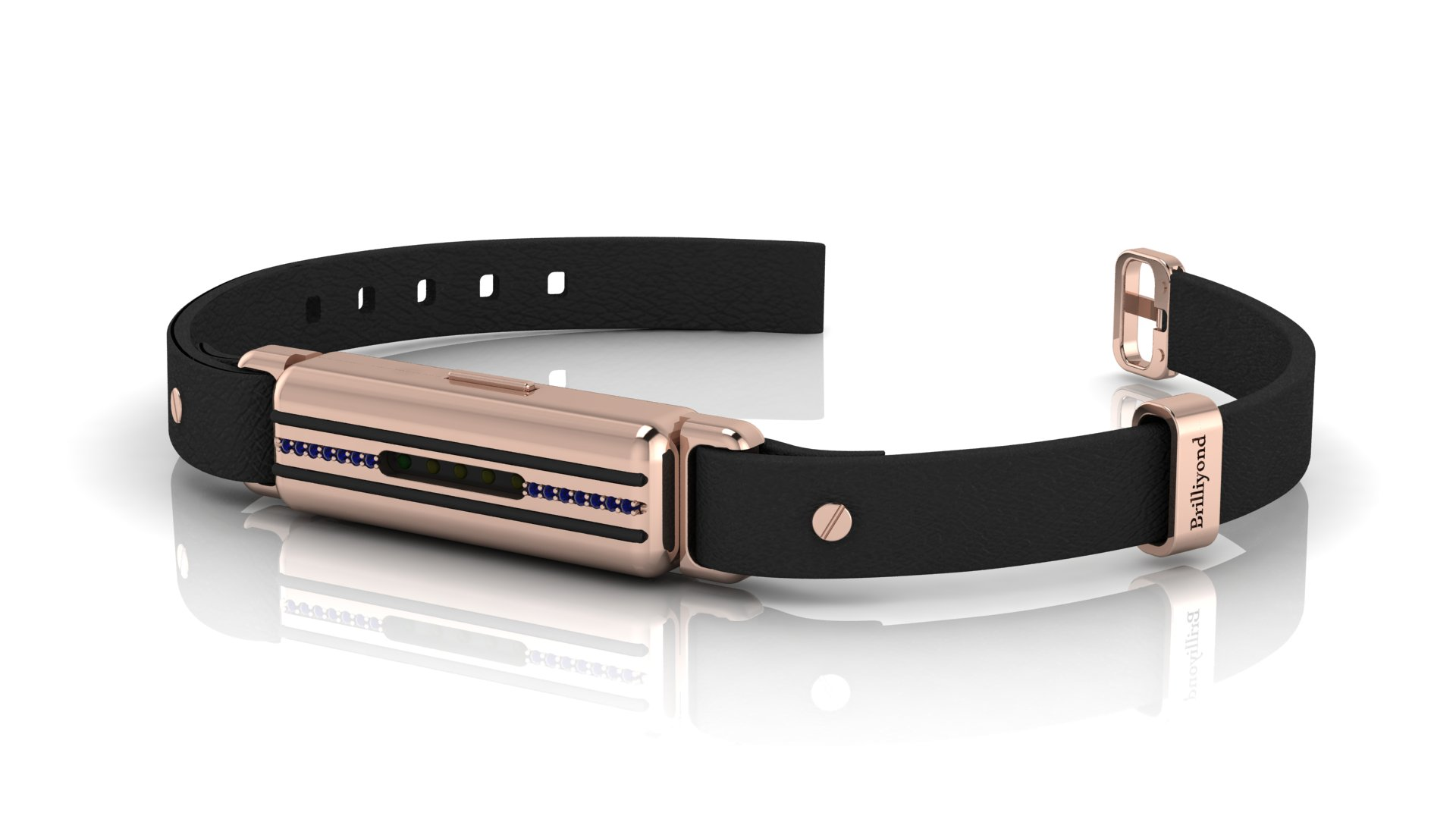 Brilliyond Smart Fitbit Bangle Blue Sapphire Rose Gold Cheetah_image1
