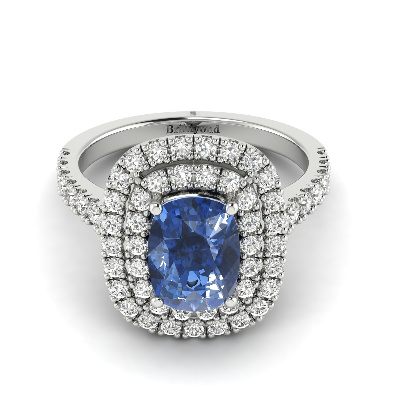 Blue White Gold Halo Sapphire Engagement Ring Corona_image1