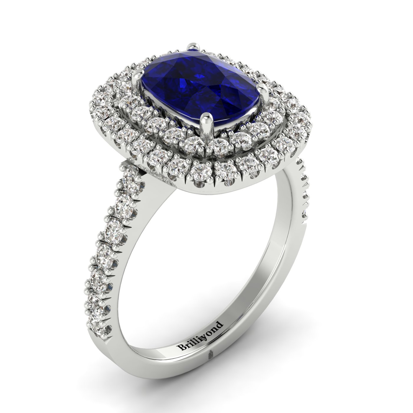 Blue White Gold Halo Sapphire Engagement Ring Corona_image2
