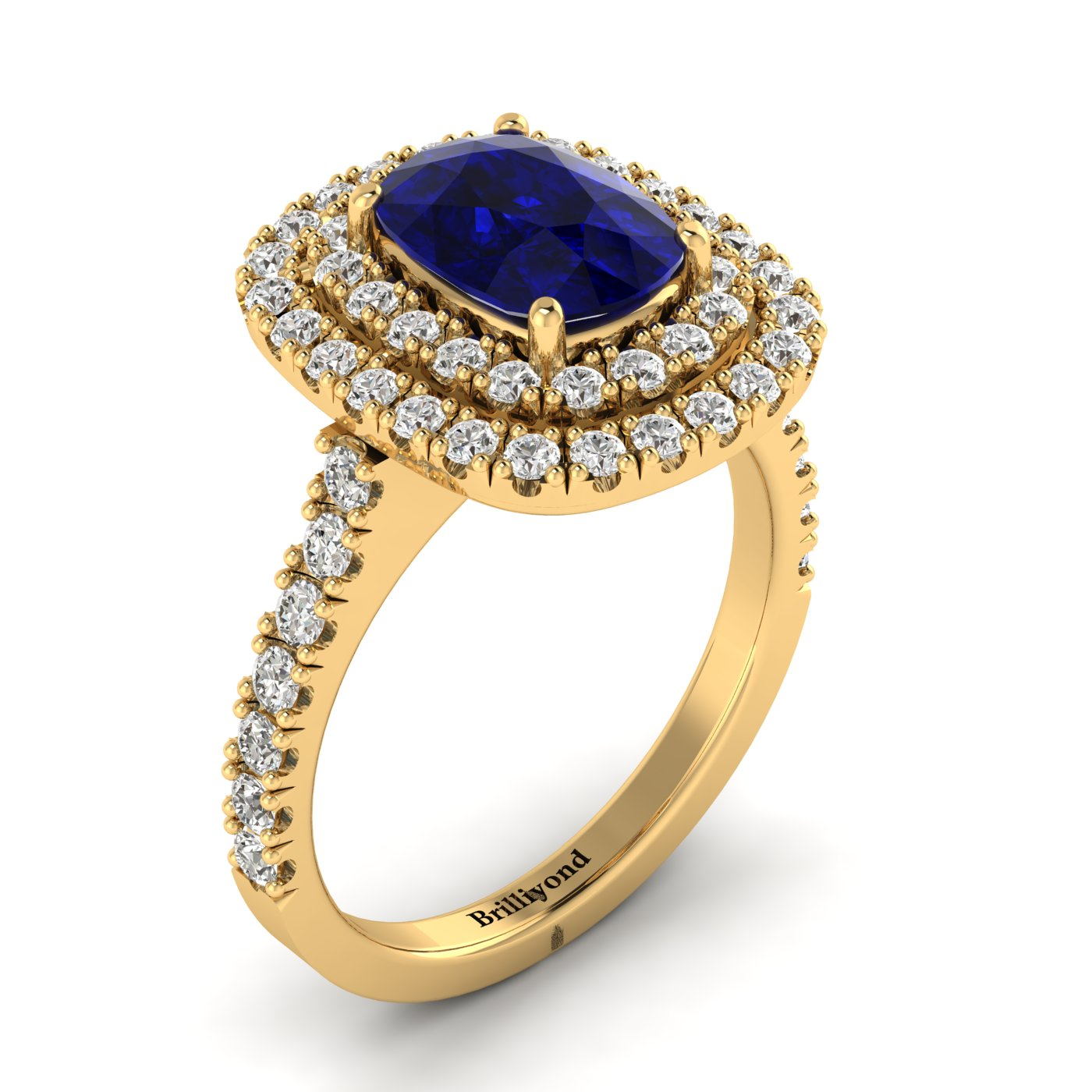 Blue Sapphire Yellow Gold Halo Engagement Ring Corona_image1