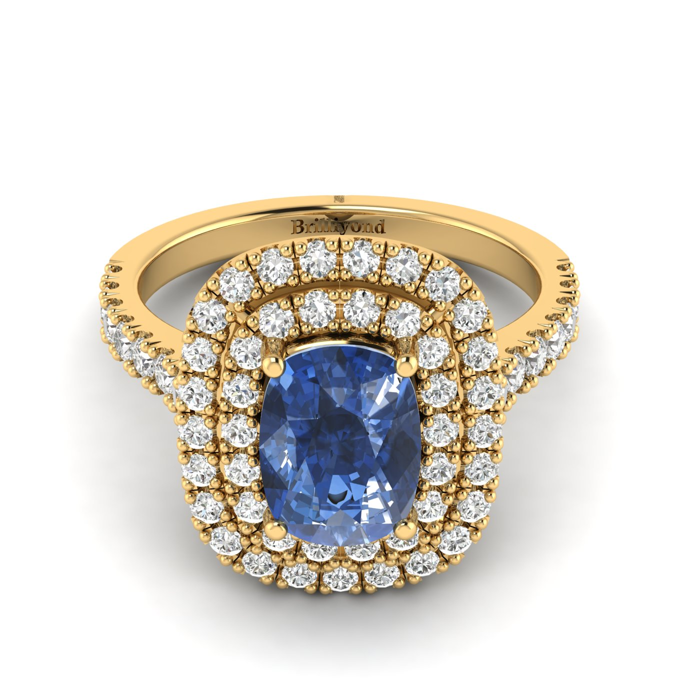 Blue Sapphire Yellow Gold Halo Engagement Ring Corona_image2