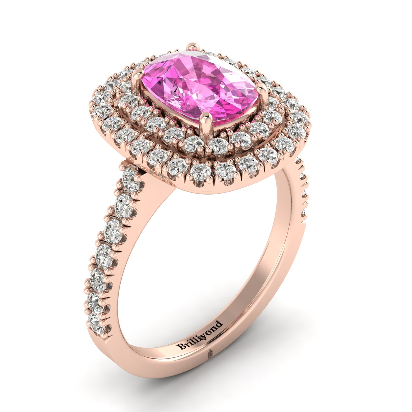 Pink Sapphire Rose Gold Halo Engagement Ring Corona_image1
