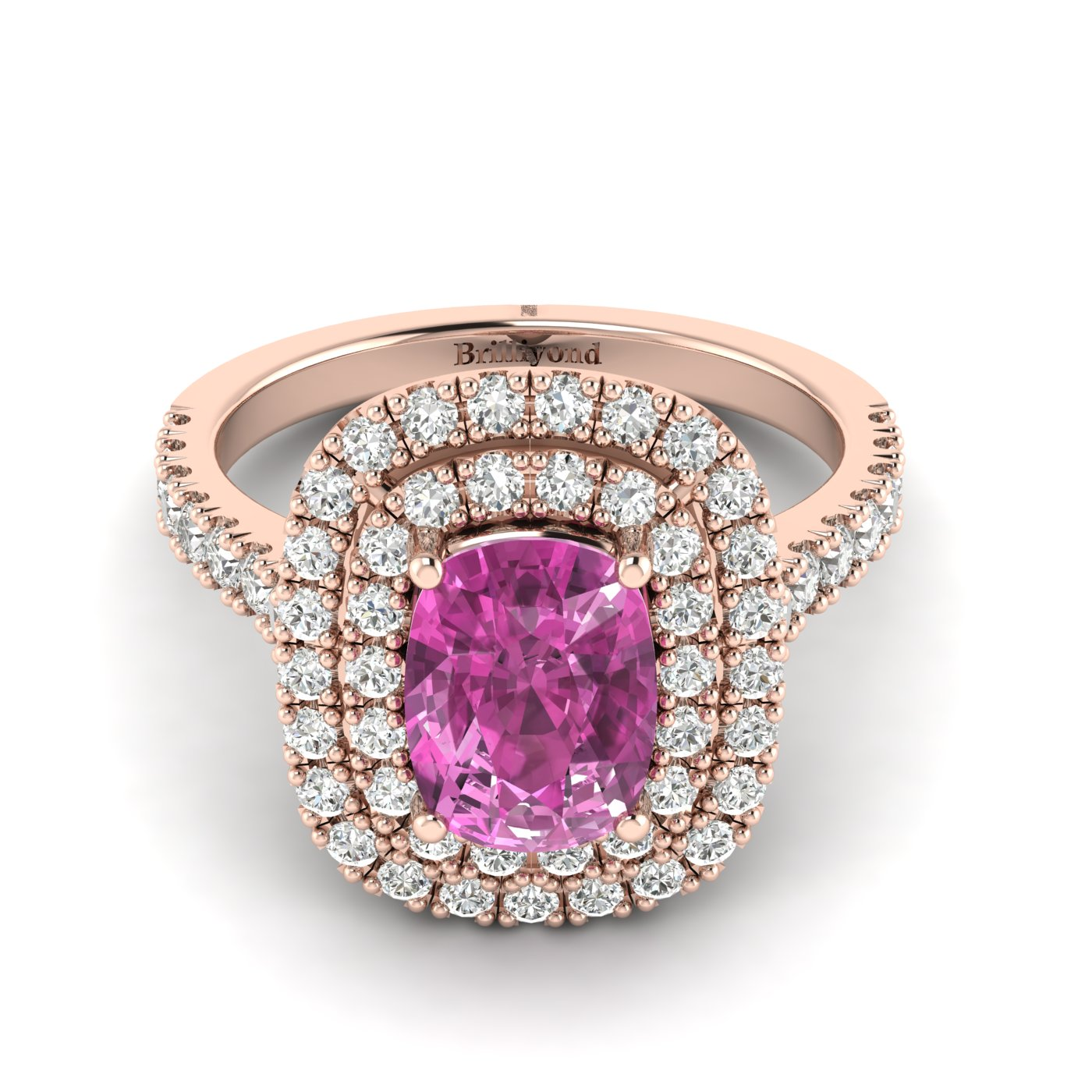 Pink Sapphire Rose Gold Halo Engagement Ring Corona_image2