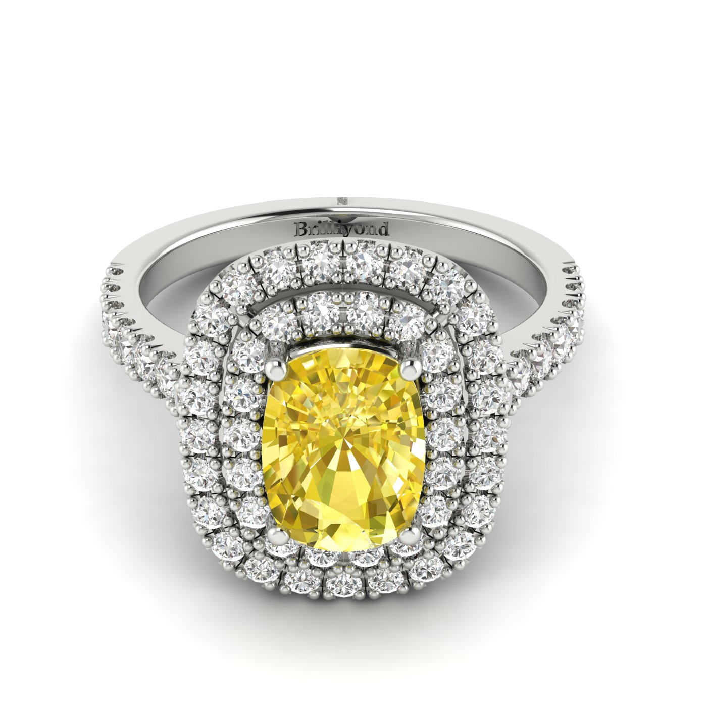 Yellow Sapphire White Gold Halo Engagement Ring Corona_image1