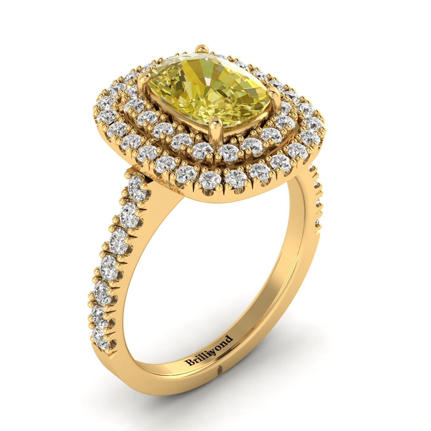Yellow Sapphire Yellow Gold Halo Engagement Ring Corona_image1
