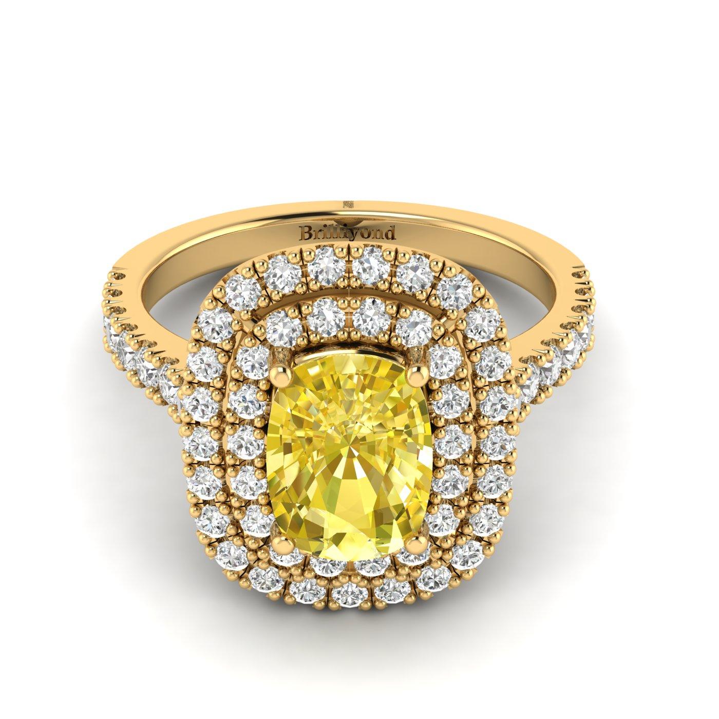 Yellow Sapphire Yellow Gold Halo Engagement Ring Corona_image2