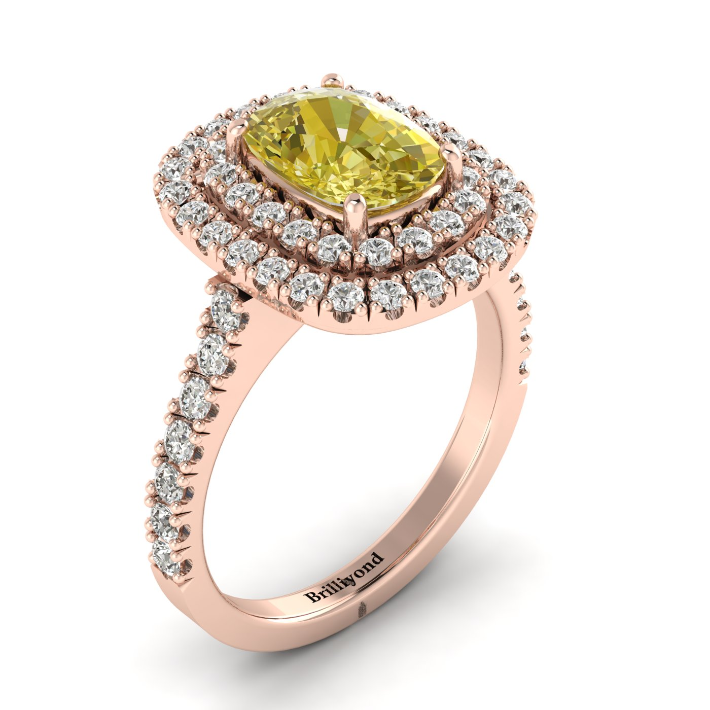 Yellow Sapphire Rose Gold Halo Engagement Ring Corona_image2