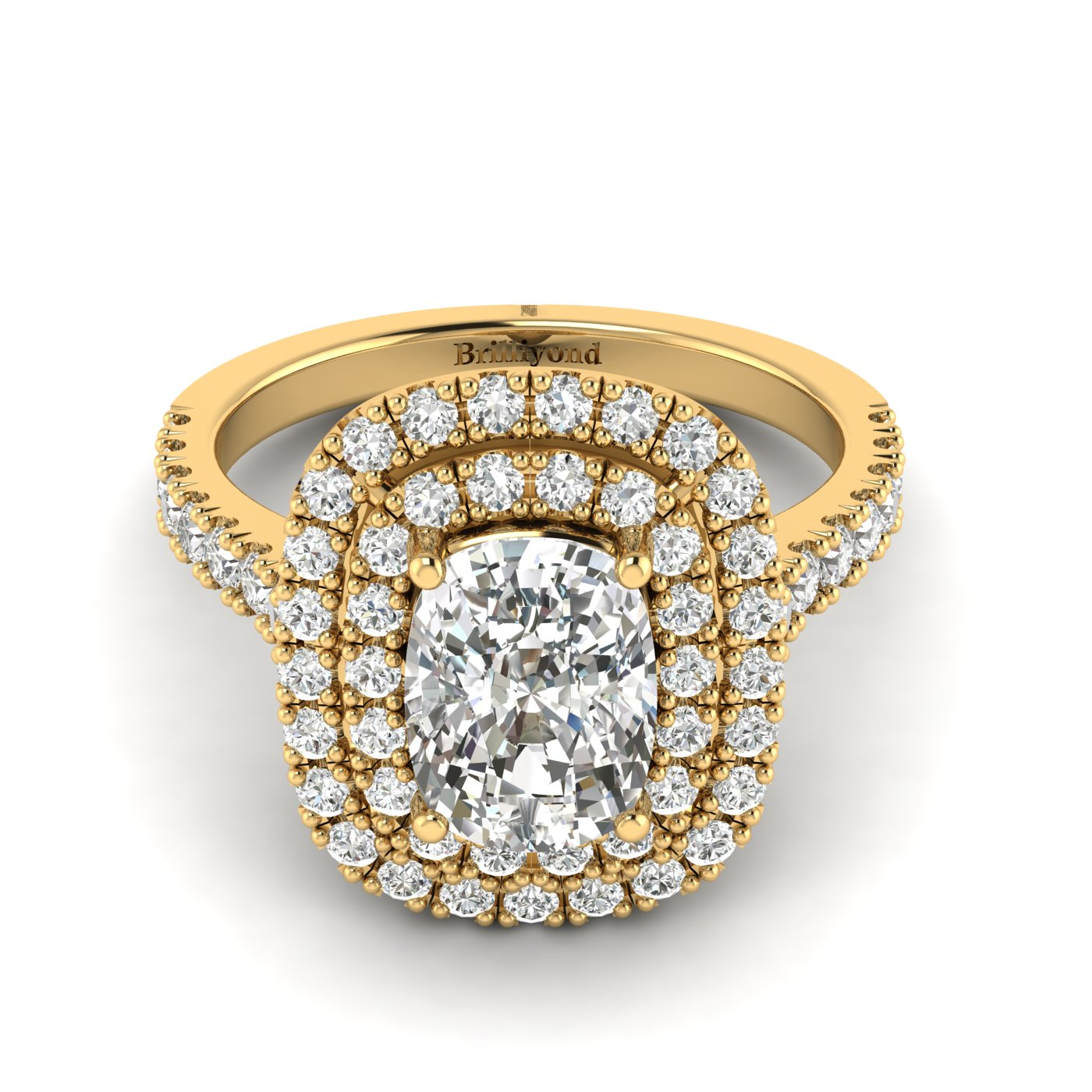 Diamond Yellow Gold Halo Engagement Ring Corona_image1