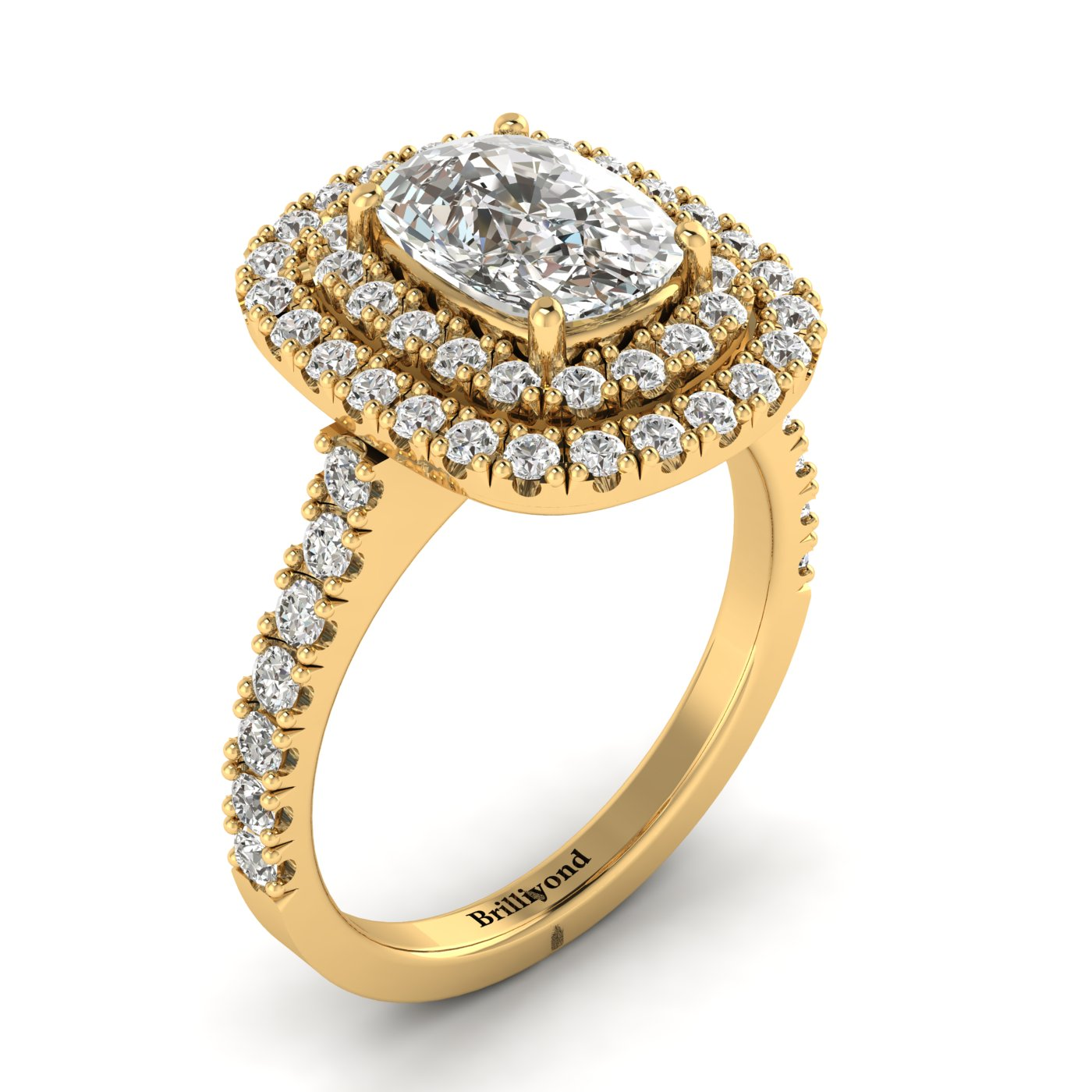 Diamond Yellow Gold Halo Engagement Ring Corona_image2