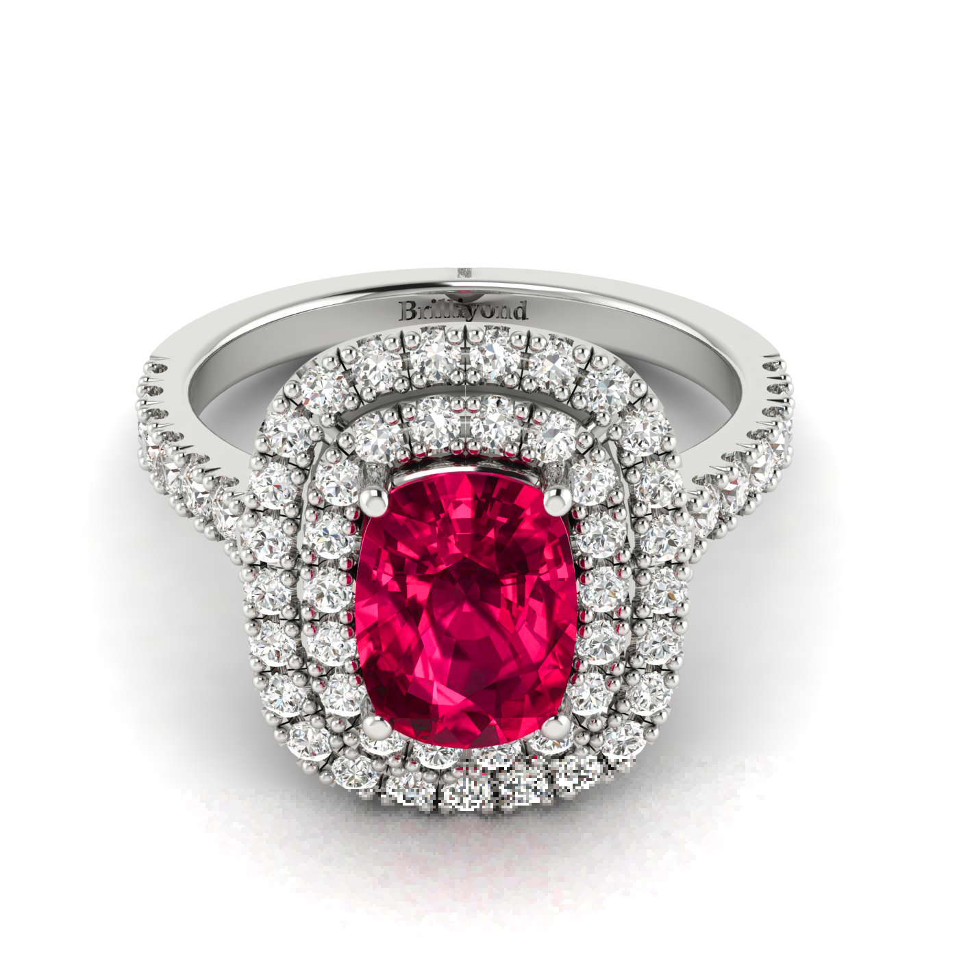Cushion Cut Ruby with Diamond Accents on 18k White Gold