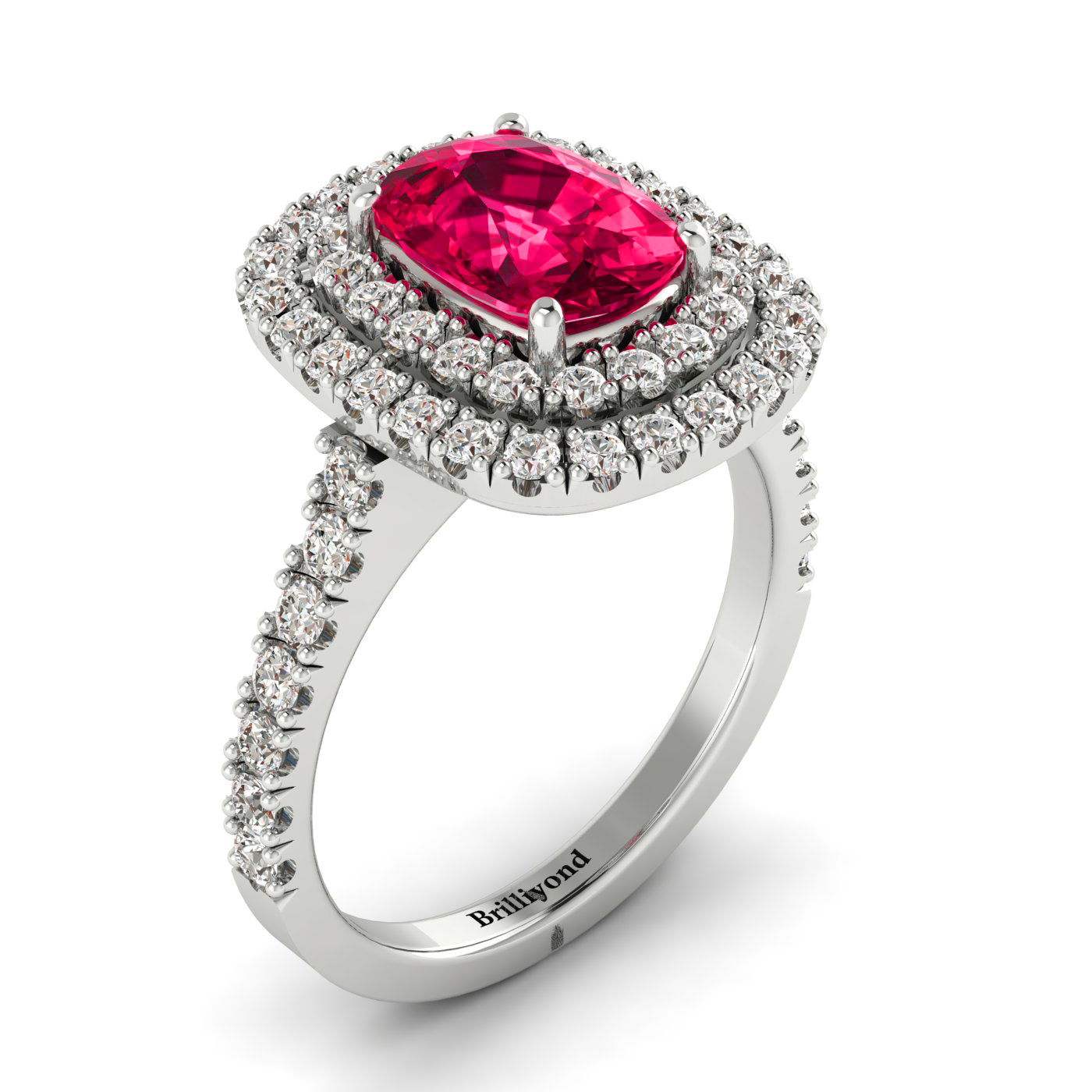 Sophisticated Ruby Ring with Conflict-free Accent Diamonds by Brilliyond
