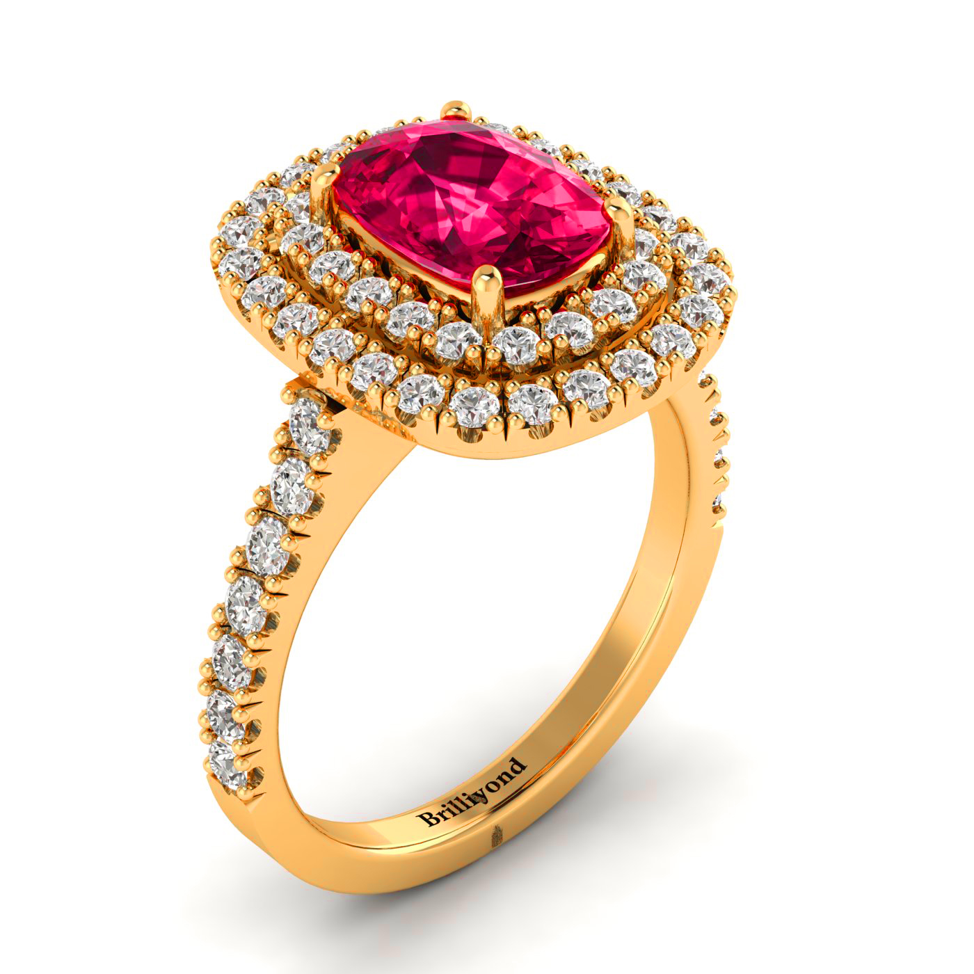Ruby Ring with Double Halo Diamonds on 18k Yellow Gold
