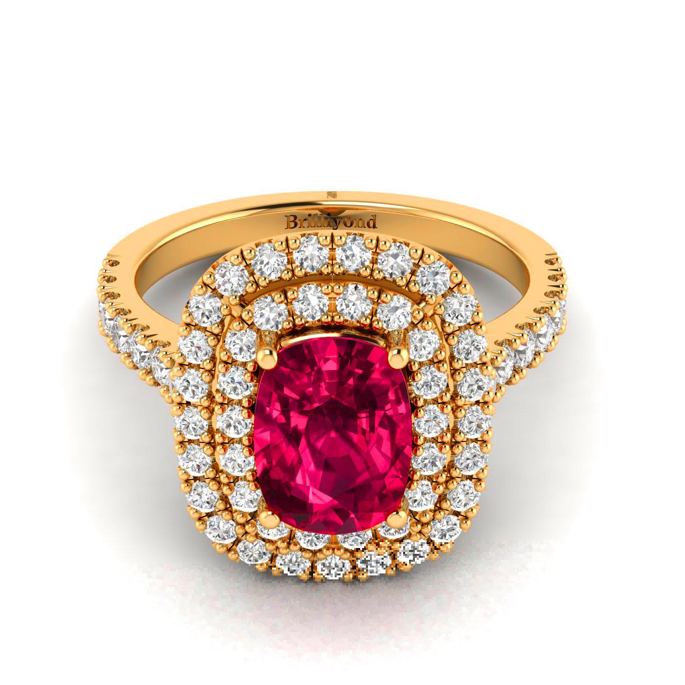 Cushion Cut Ruby Engagement Ring by Brilliyond Australia