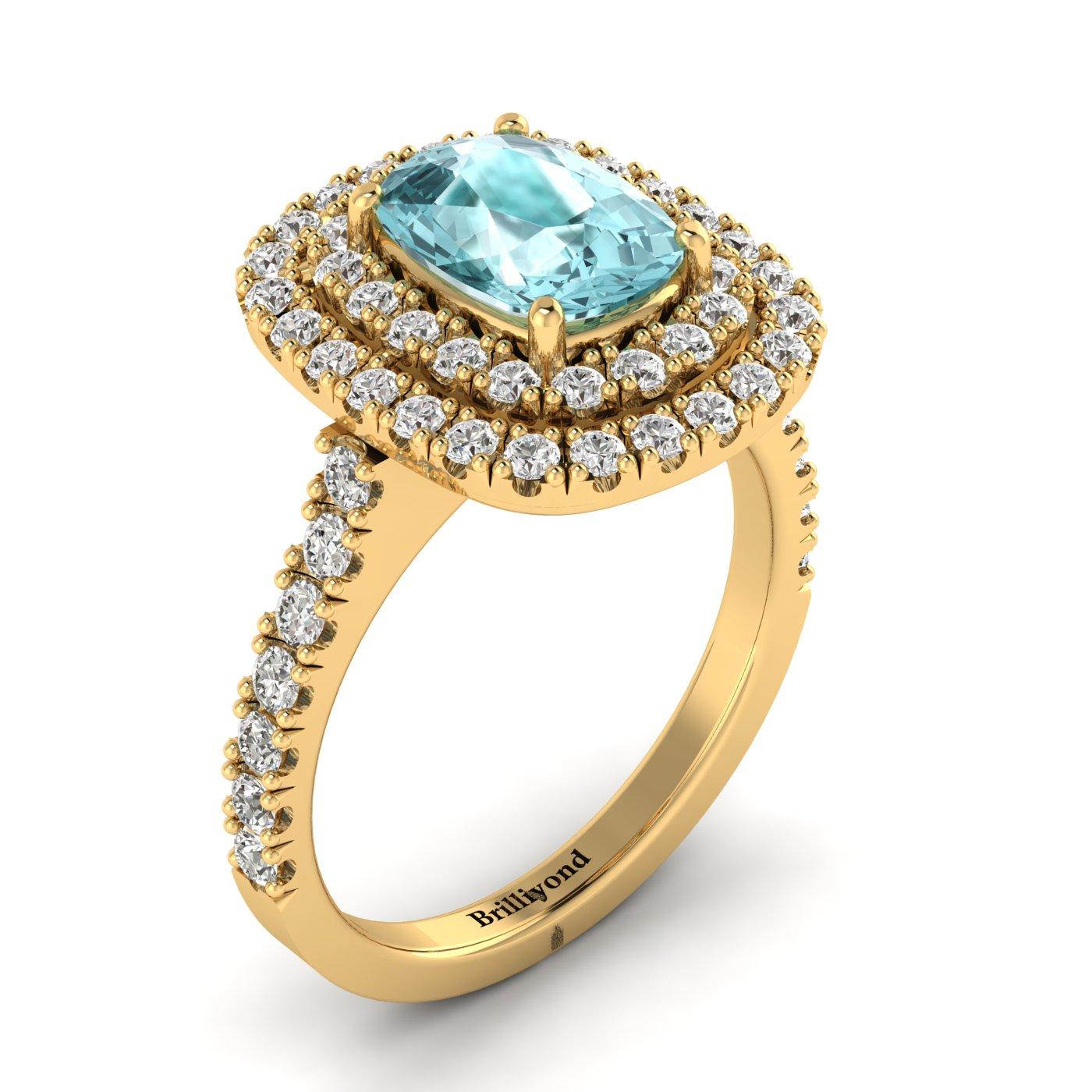 Aquamarine Yellow Gold Halo Engagement Ring Corona_image2