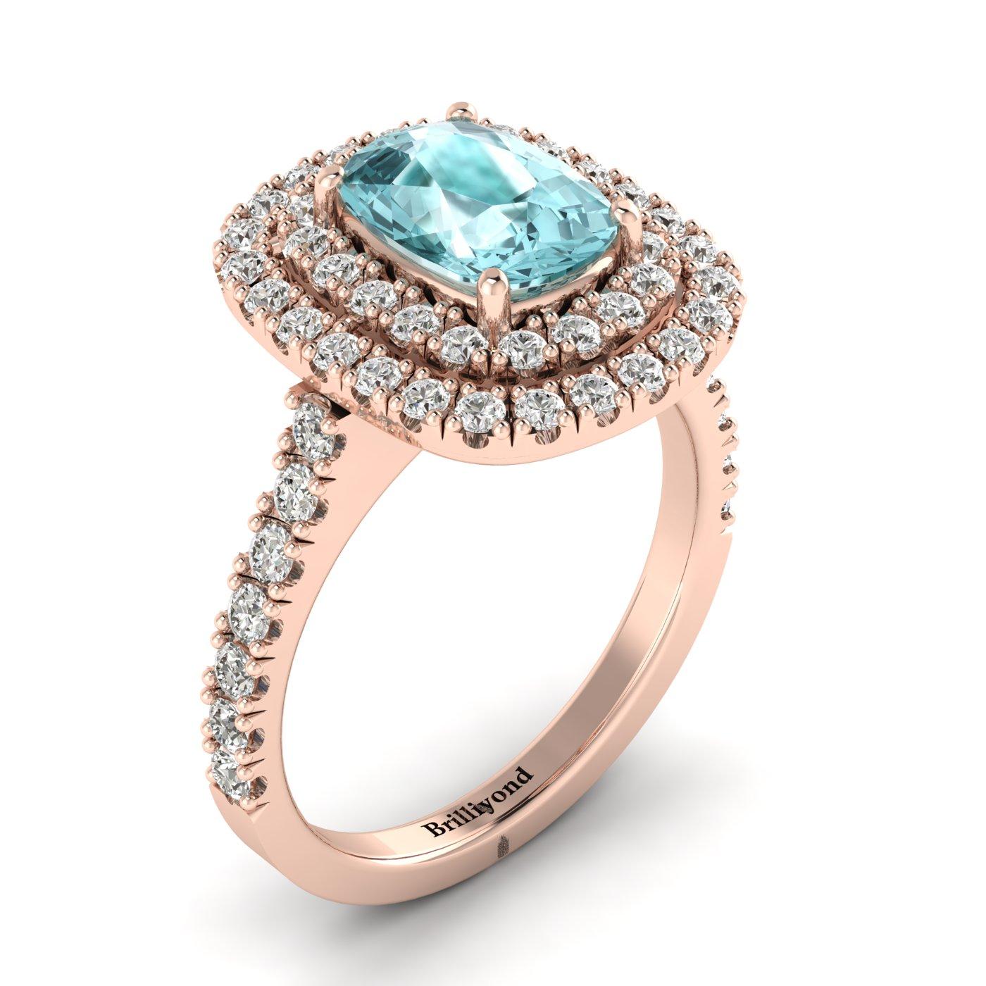 Aquamarine Rose Gold Halo Engagement Ring Corona_image1
