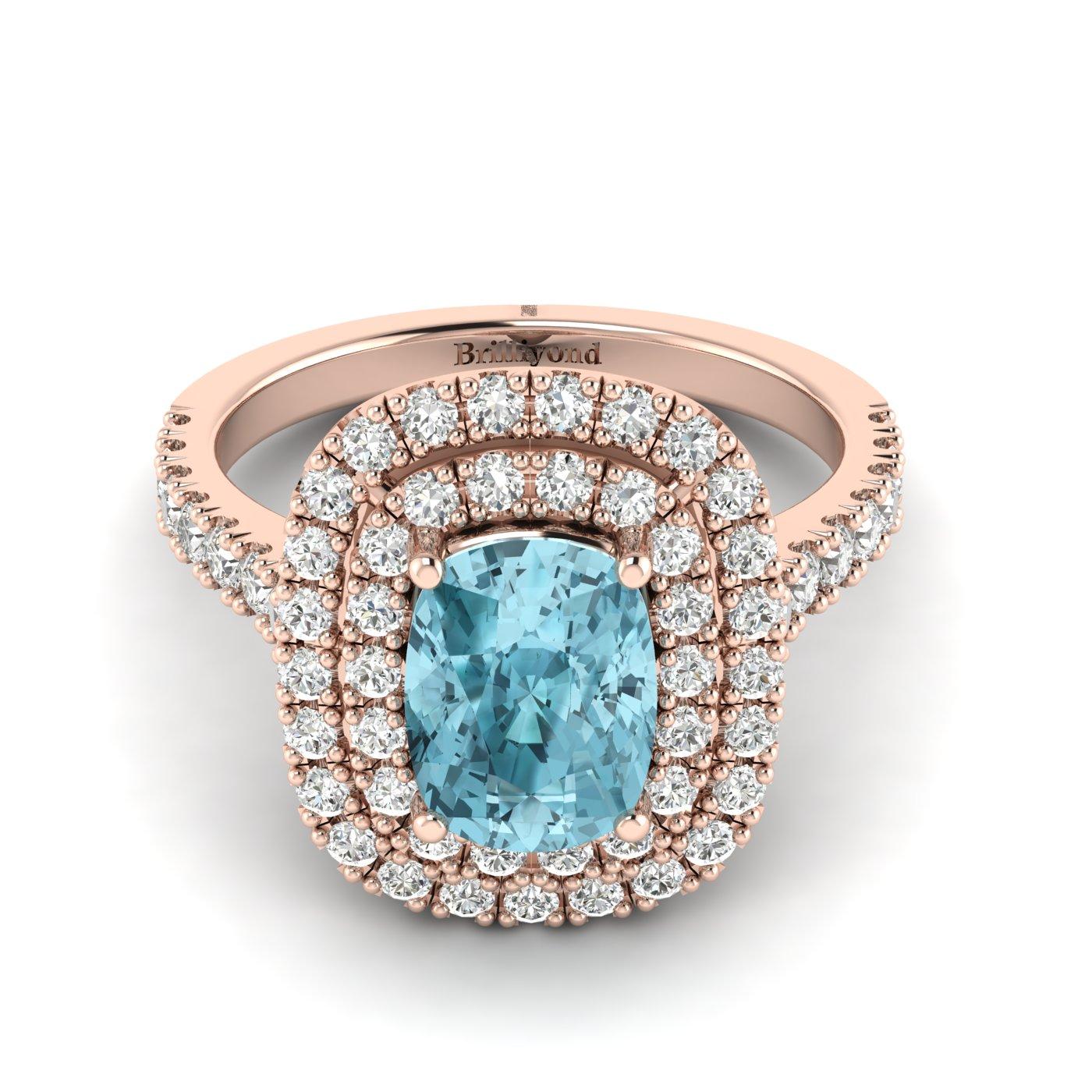 Aquamarine Rose Gold Halo Engagement Ring Corona_image2