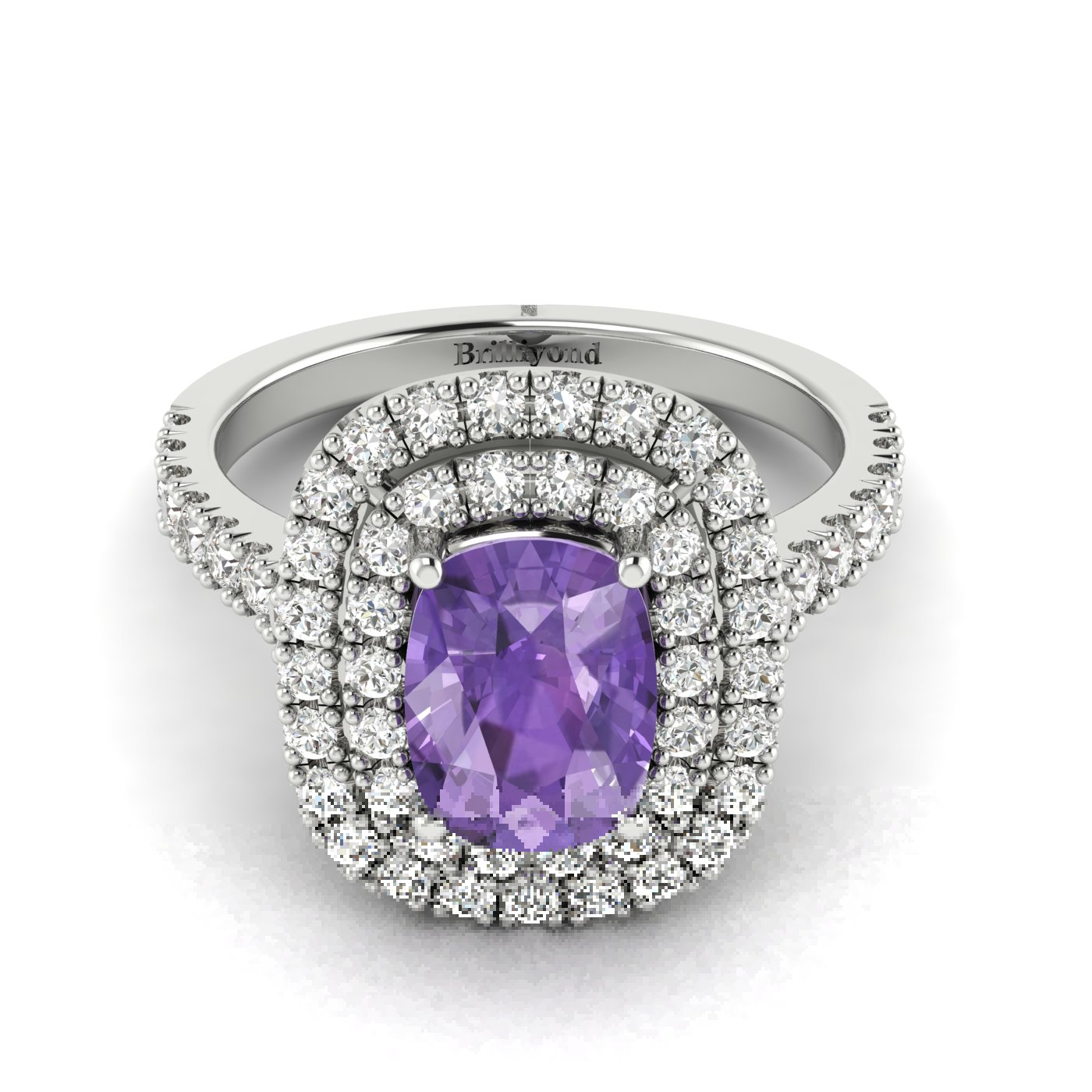 Cushion Cut Amethyst with CZ on 18k White Gold Band