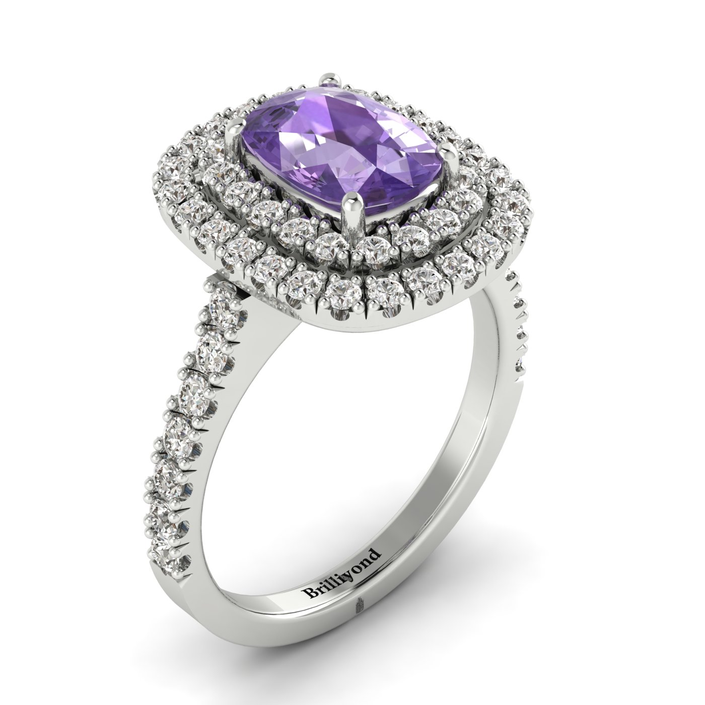 Double Halo CZ Amethyst Engagement Ring by Brilliyond Australia