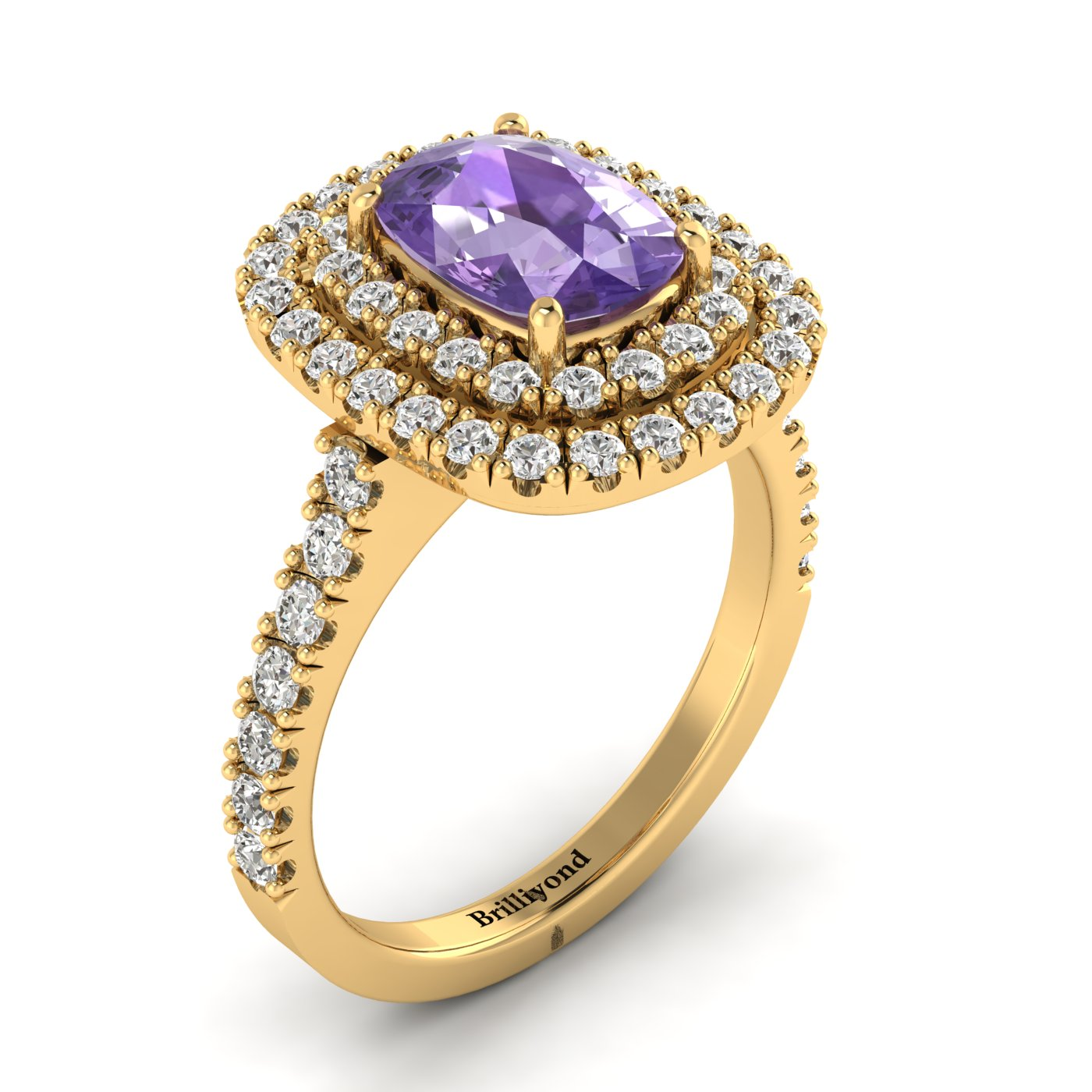 Amethyst Yellow Gold Halo Engagement Ring Corona_image1