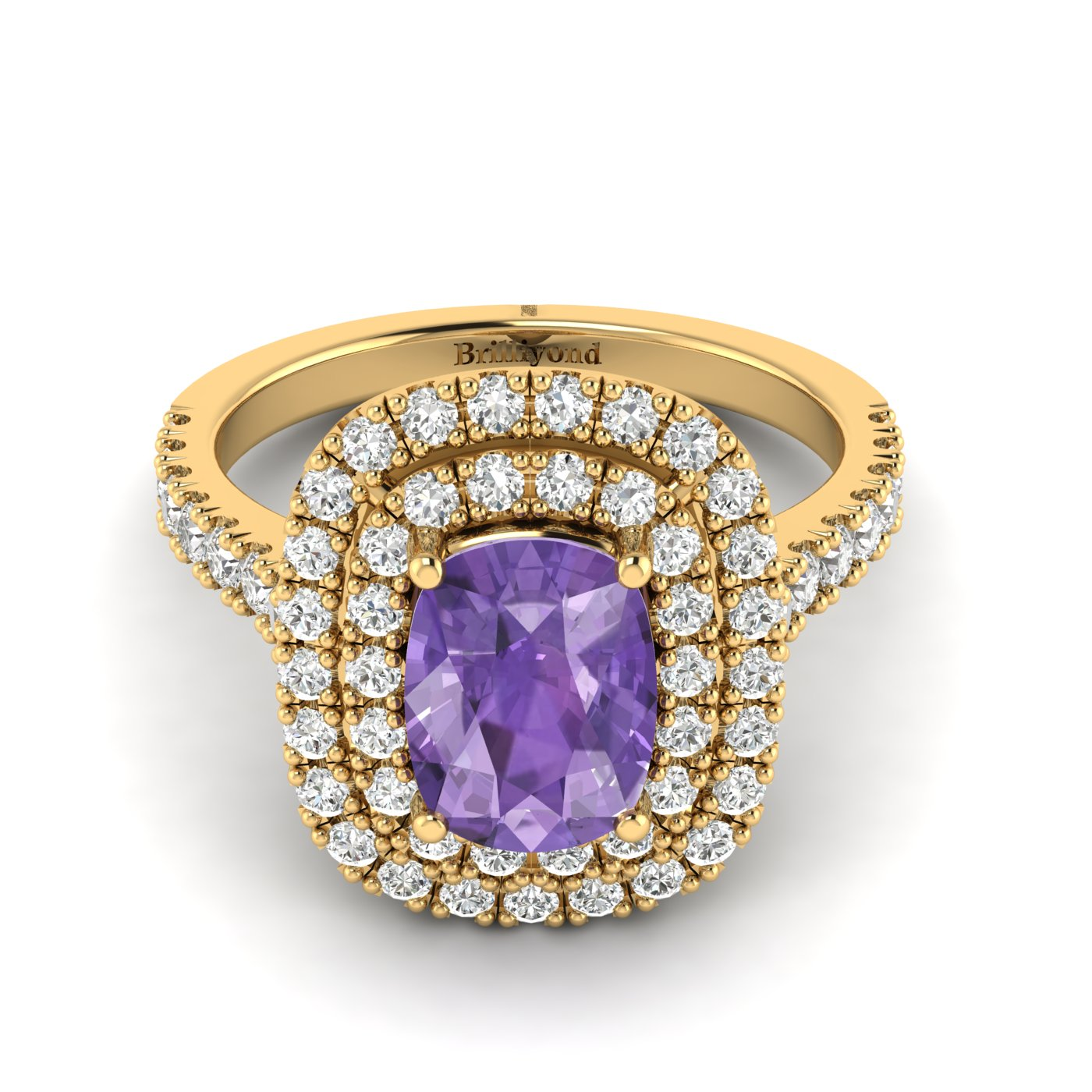 Amethyst Yellow Gold Halo Engagement Ring Corona_image2