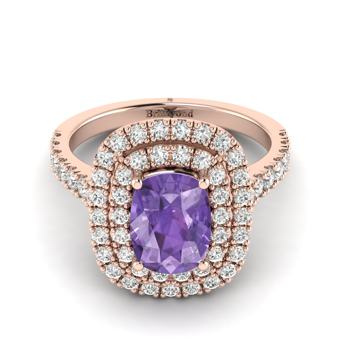 Amethyst Rose Gold Halo Engagement Ring Corona_image1