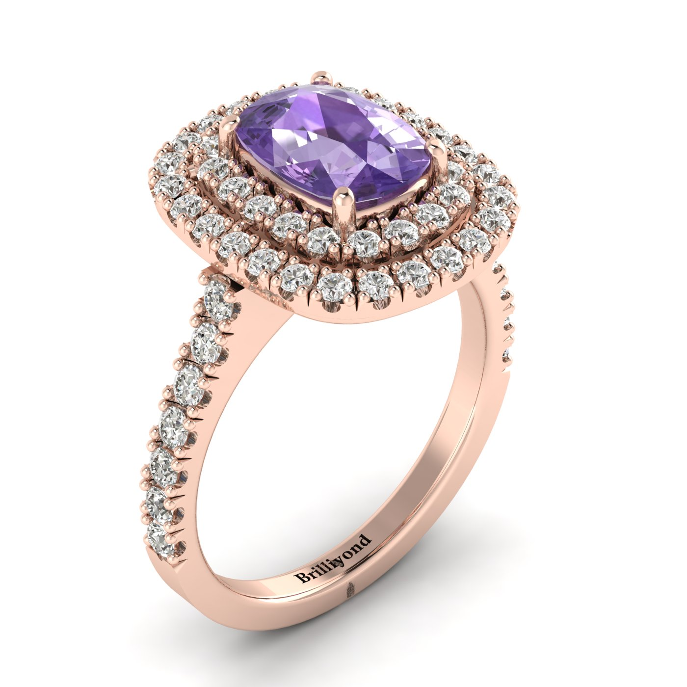 Amethyst Rose Gold Halo Engagement Ring Corona_image2