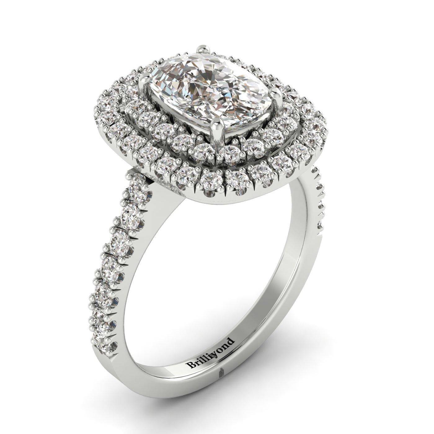 White Sapphire White Gold Halo Engagement Ring Corona_image1