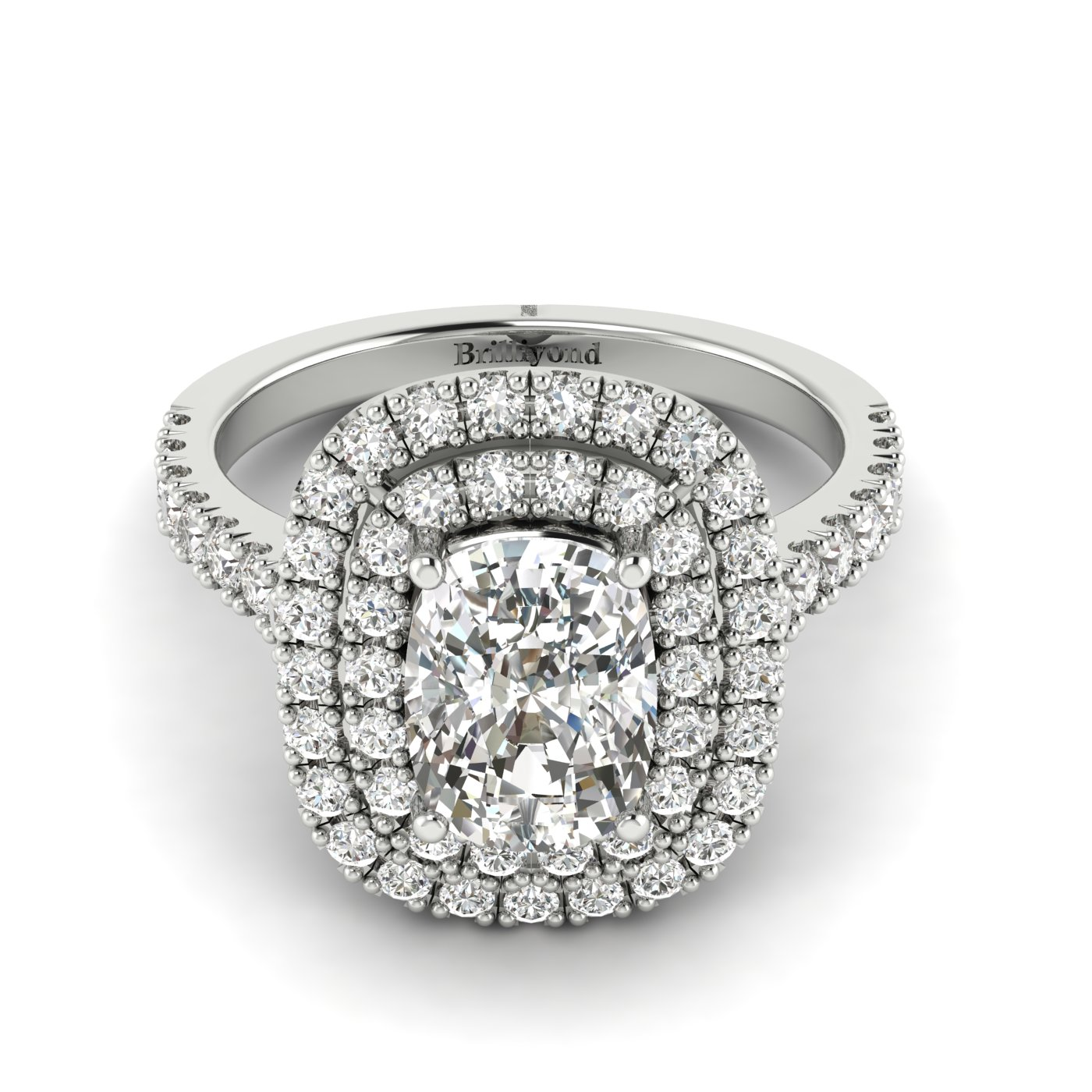 White Sapphire White Gold Halo Engagement Ring Corona_image2