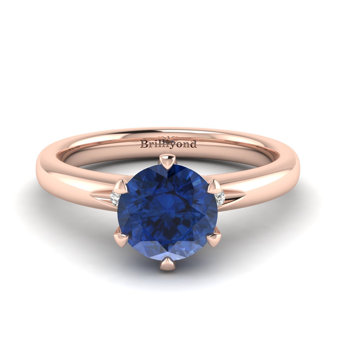 Blue Sapphire Rose Gold Solitaire Engagement Ring Byond_image2