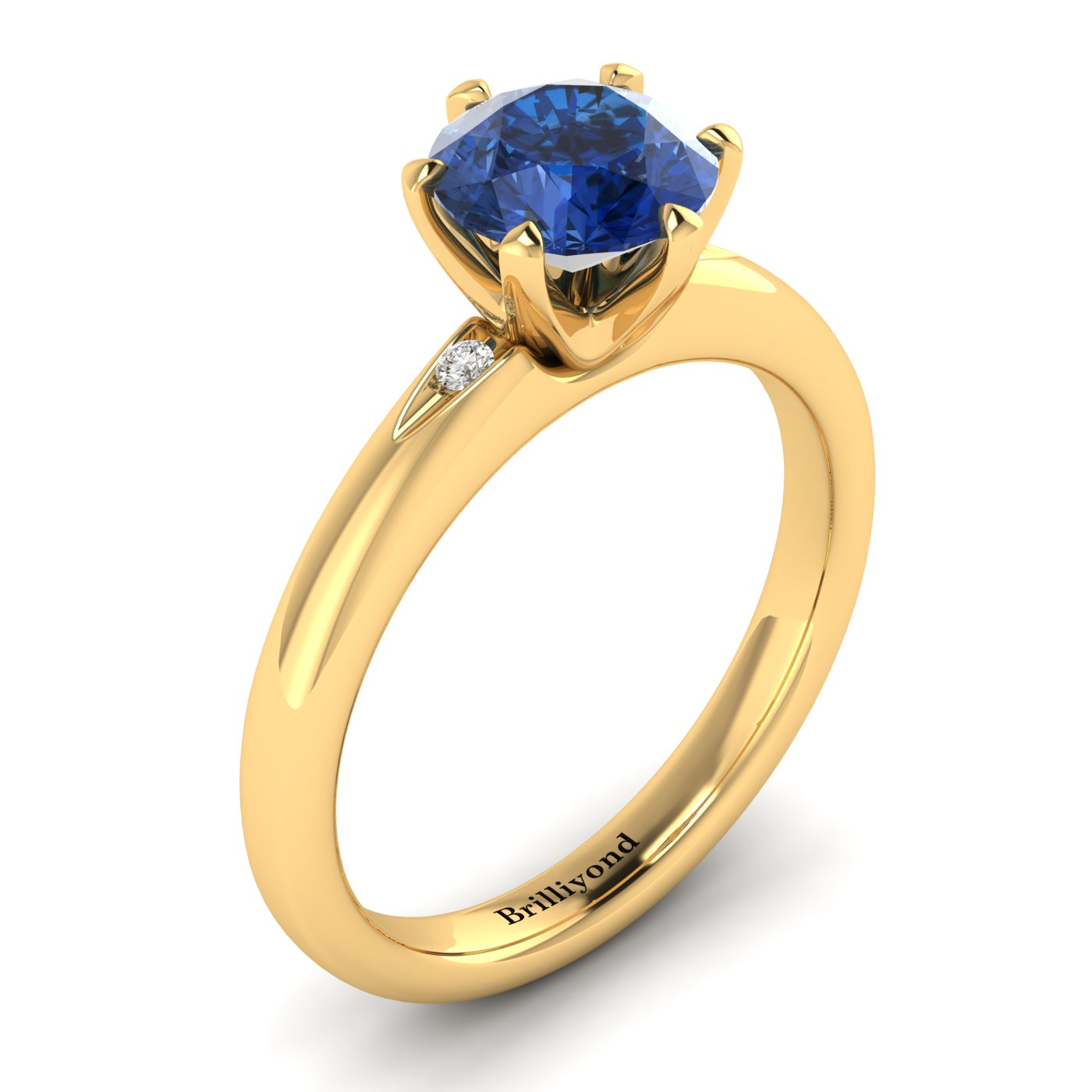 Blue Sapphire Yellow Gold Solitaire Engagement Ring Byond_image2